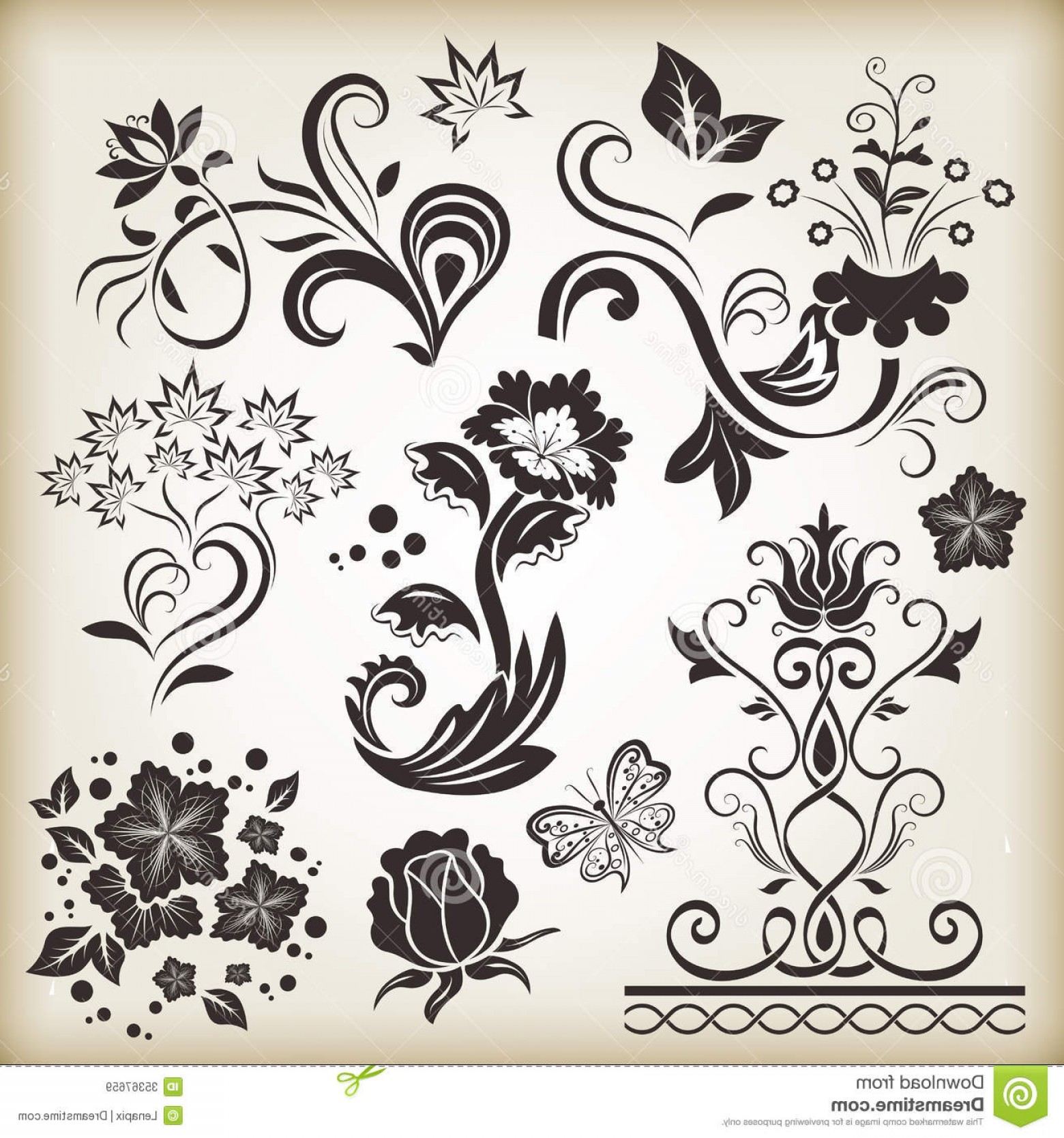 Flower Elements Vector: Royalty Free Stock Images Floral Vintage Design Elements Vector Beige Background Set Image