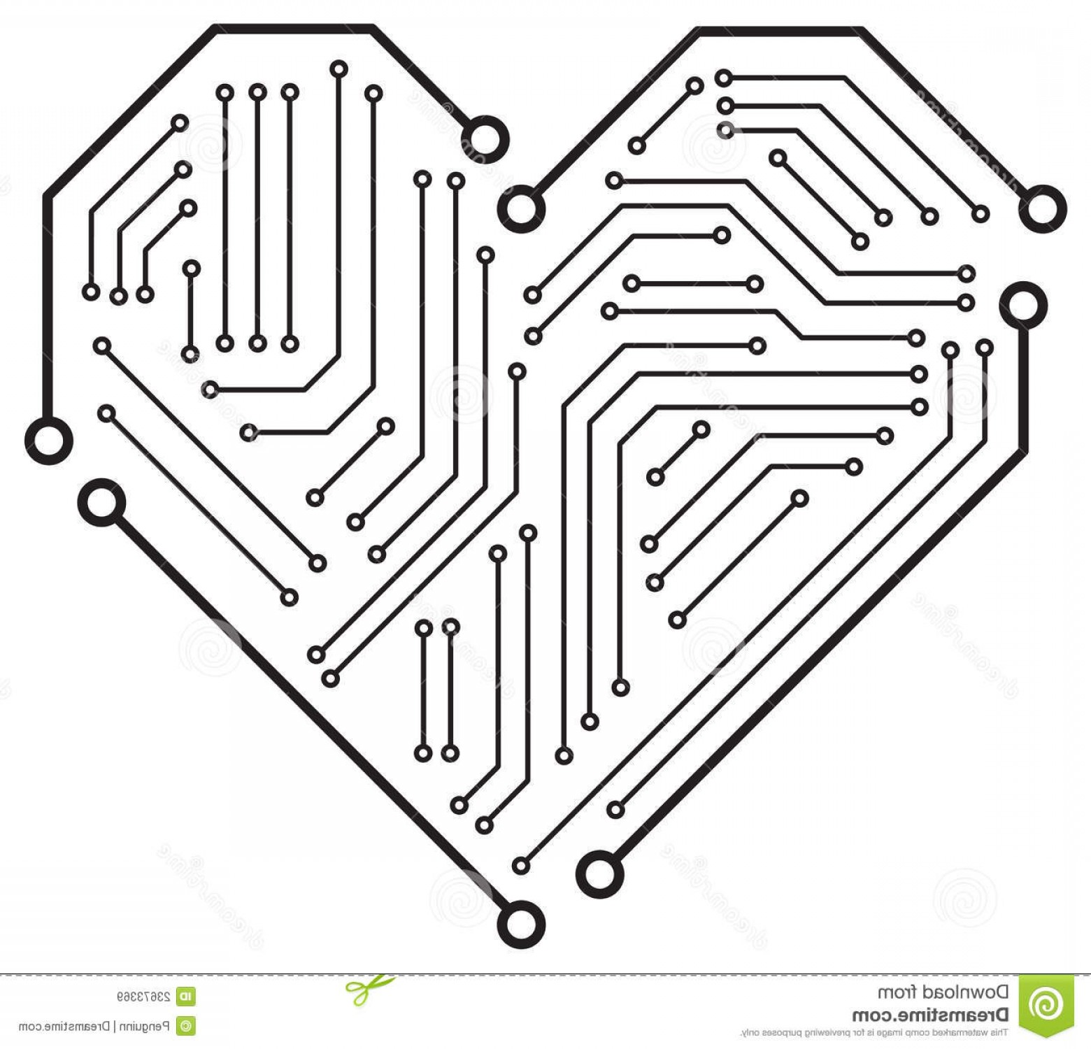 Motherboard Vector With A Heart: Royalty Free Stock Images Heart Motherboard Image