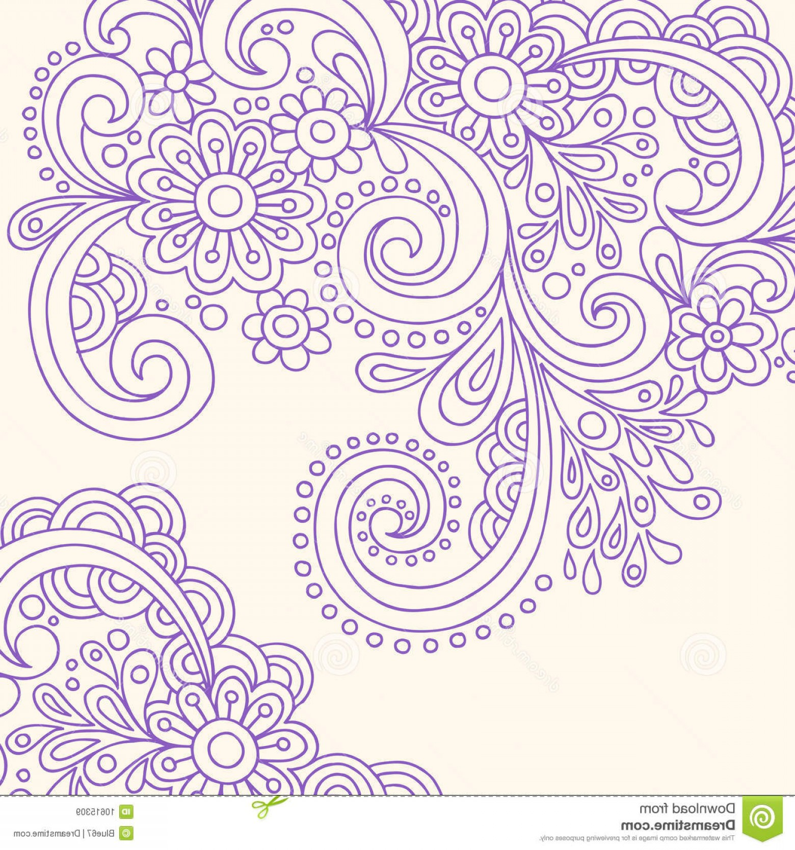 Paisley Swirl Flower Vector: Royalty Free Stock Images Henna Abstract Paisley Flower Doodle Vector Image