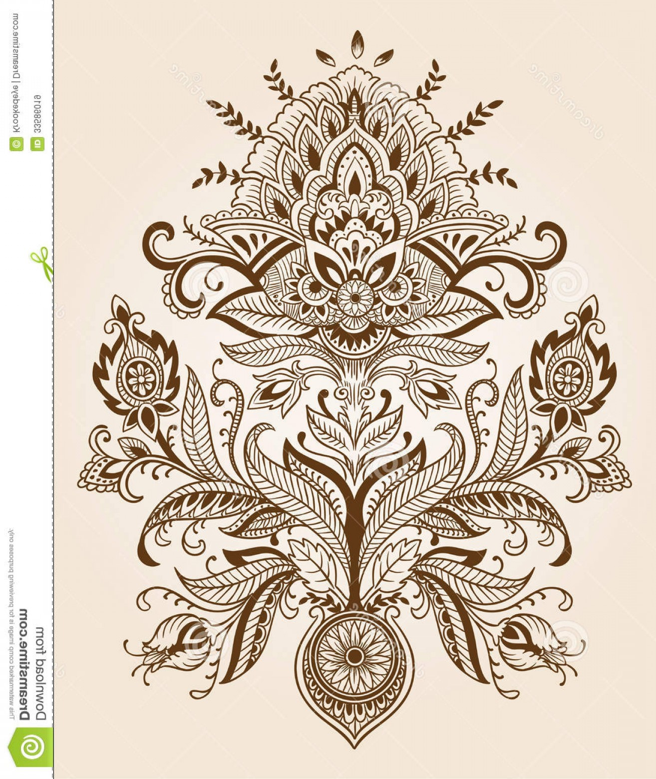 Vector Art Henna: Royalty Free Stock Images Henna Lace Paisley Flower Vector Illustration Image