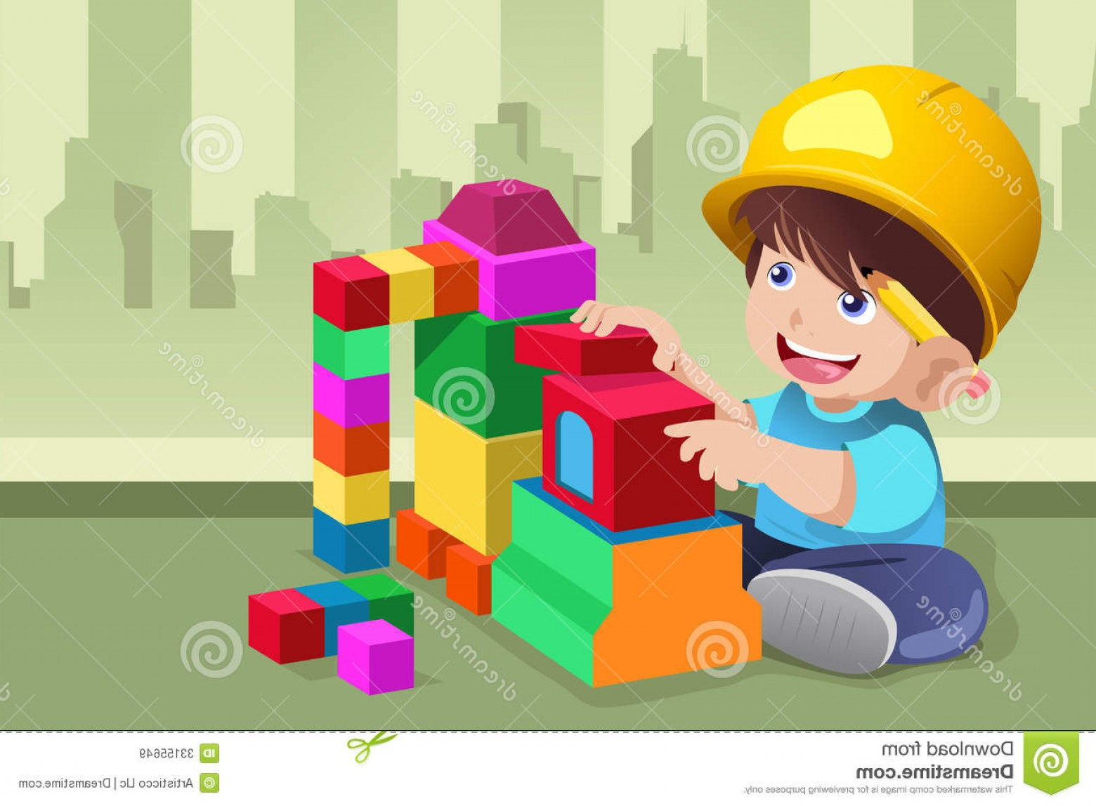 Vector Block Play: Royalty Free Stock Images Kid Playing His Toys Vector Illustration Active Image