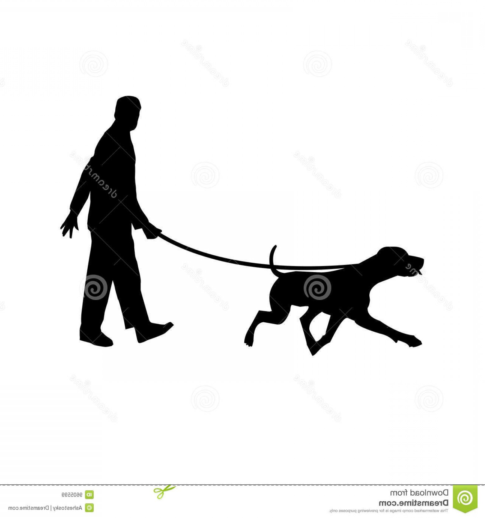 Vector Silhouette Dog Walk: Royalty Free Stock Images Man Walking His Dog Image