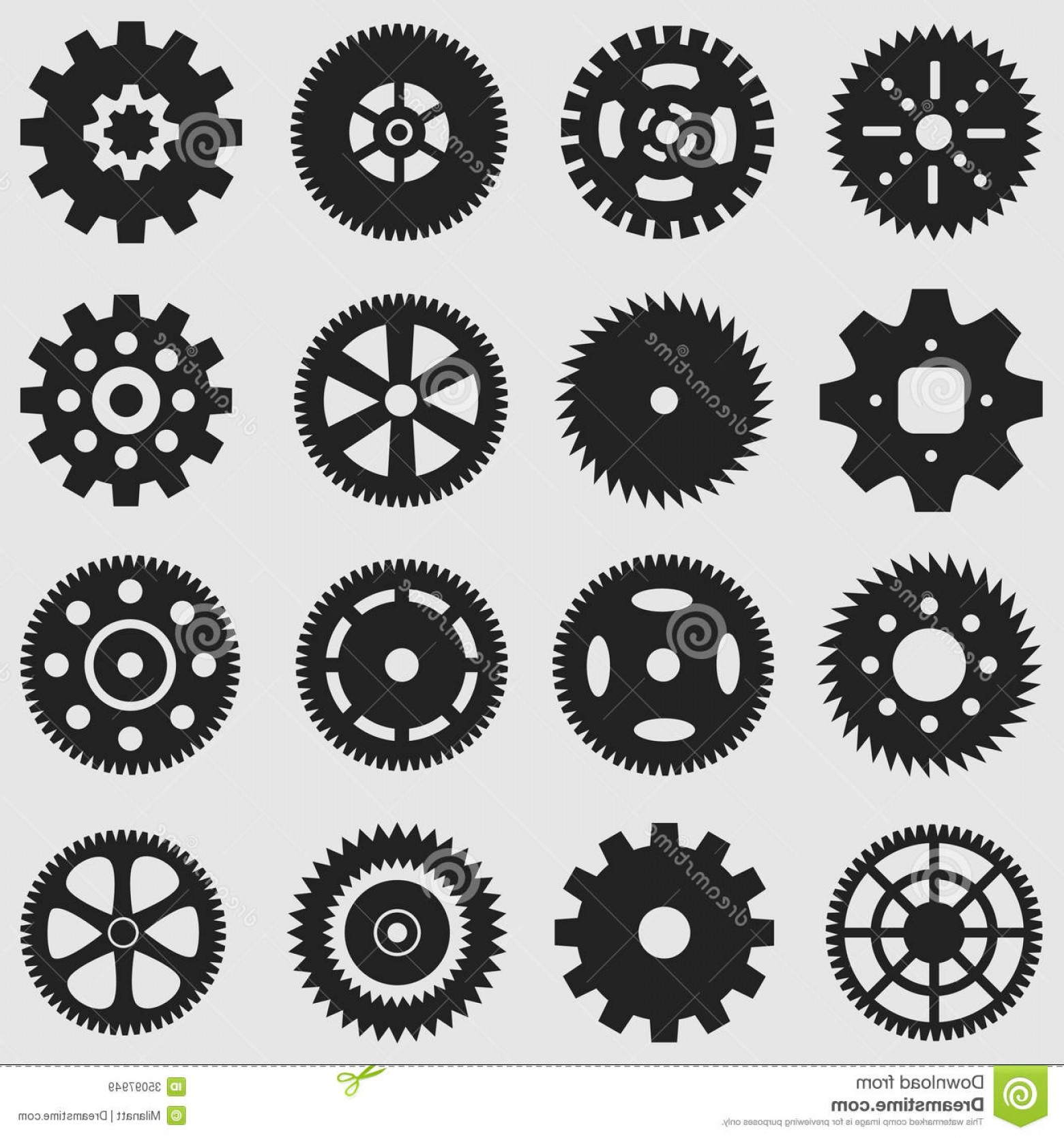 Vector Mechanical Clock Wheels: Royalty Free Stock Images Mechanical Cogs Gear Wheel Various Style Size Gears Wheels Silhouettes Image