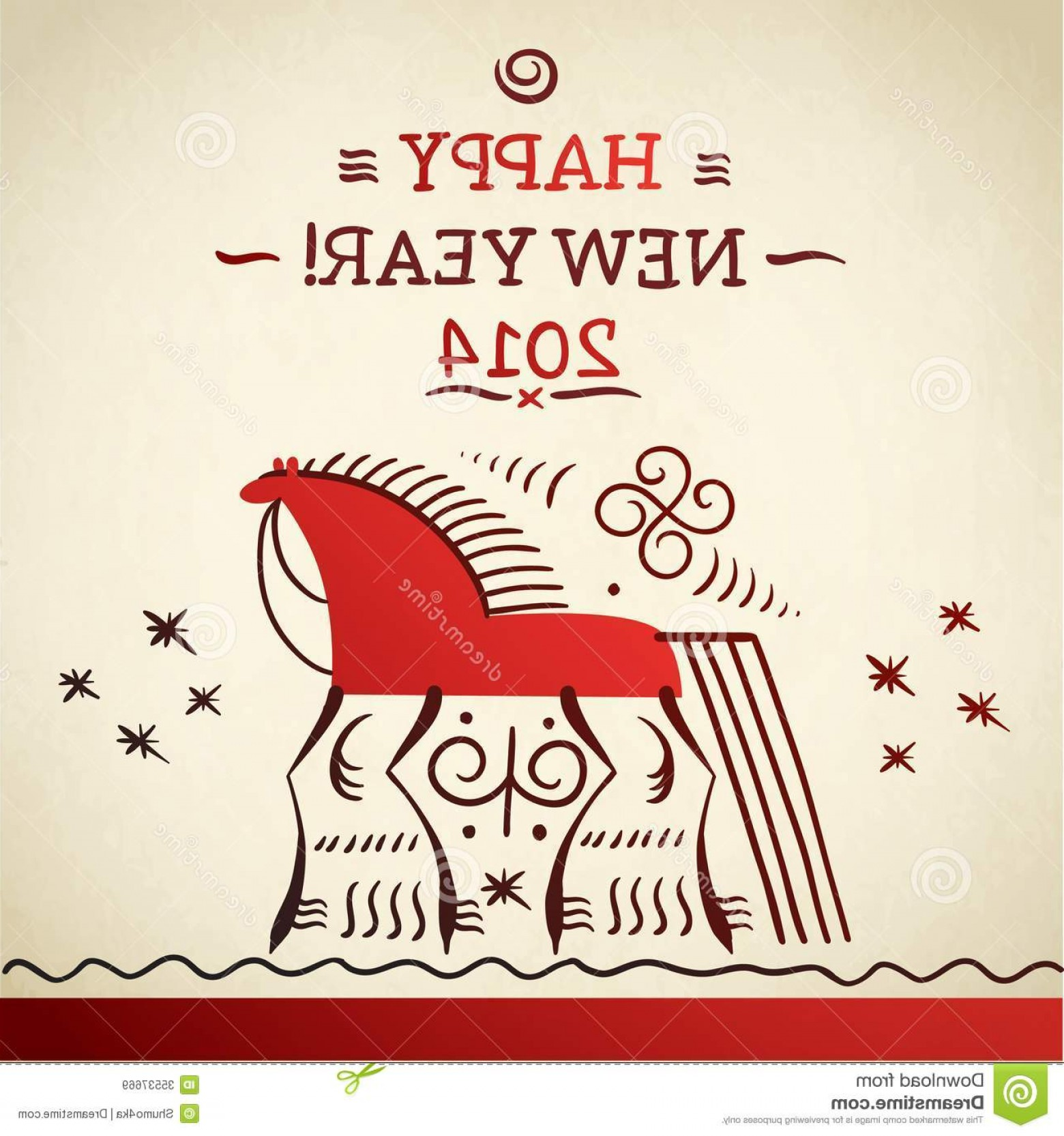 Merry Christmas Vector Graphic: Royalty Free Stock Images Merry Christmas Vector Horse Symbol Card Russian Folk Painting Fairy Year Northern Image