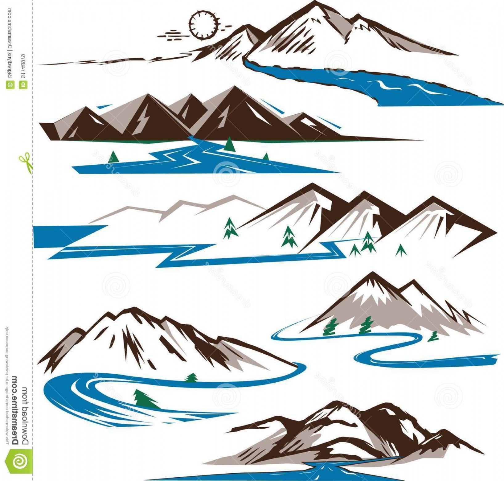River Silhouette Vector Art: Royalty Free Stock Images Mountains Rivers Clip Art Collection Stylized Image