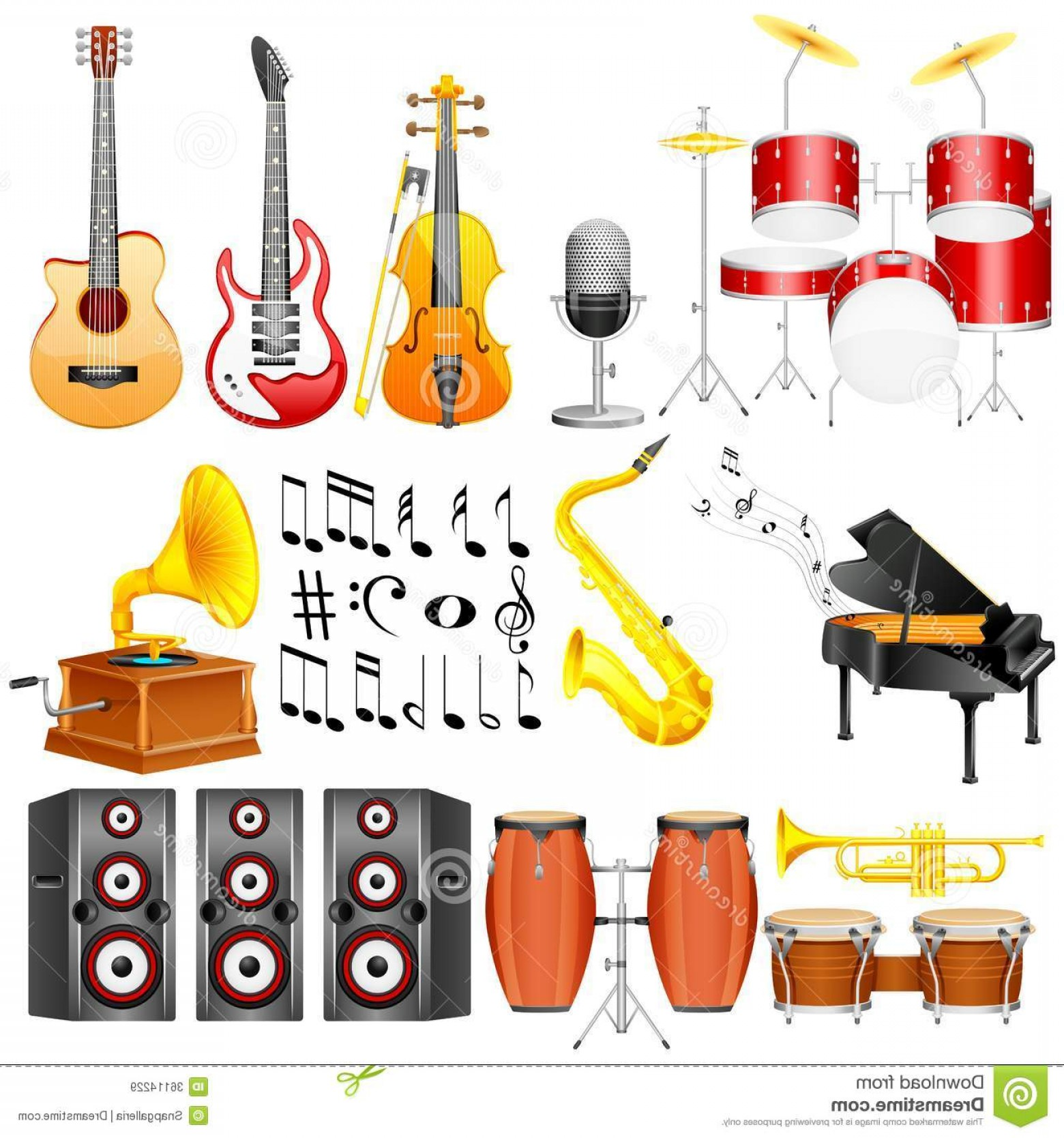 Musical Keyboard Vector: Royalty Free Stock Images Music Instrument Easy To Edit Vector Illustration Collection Image