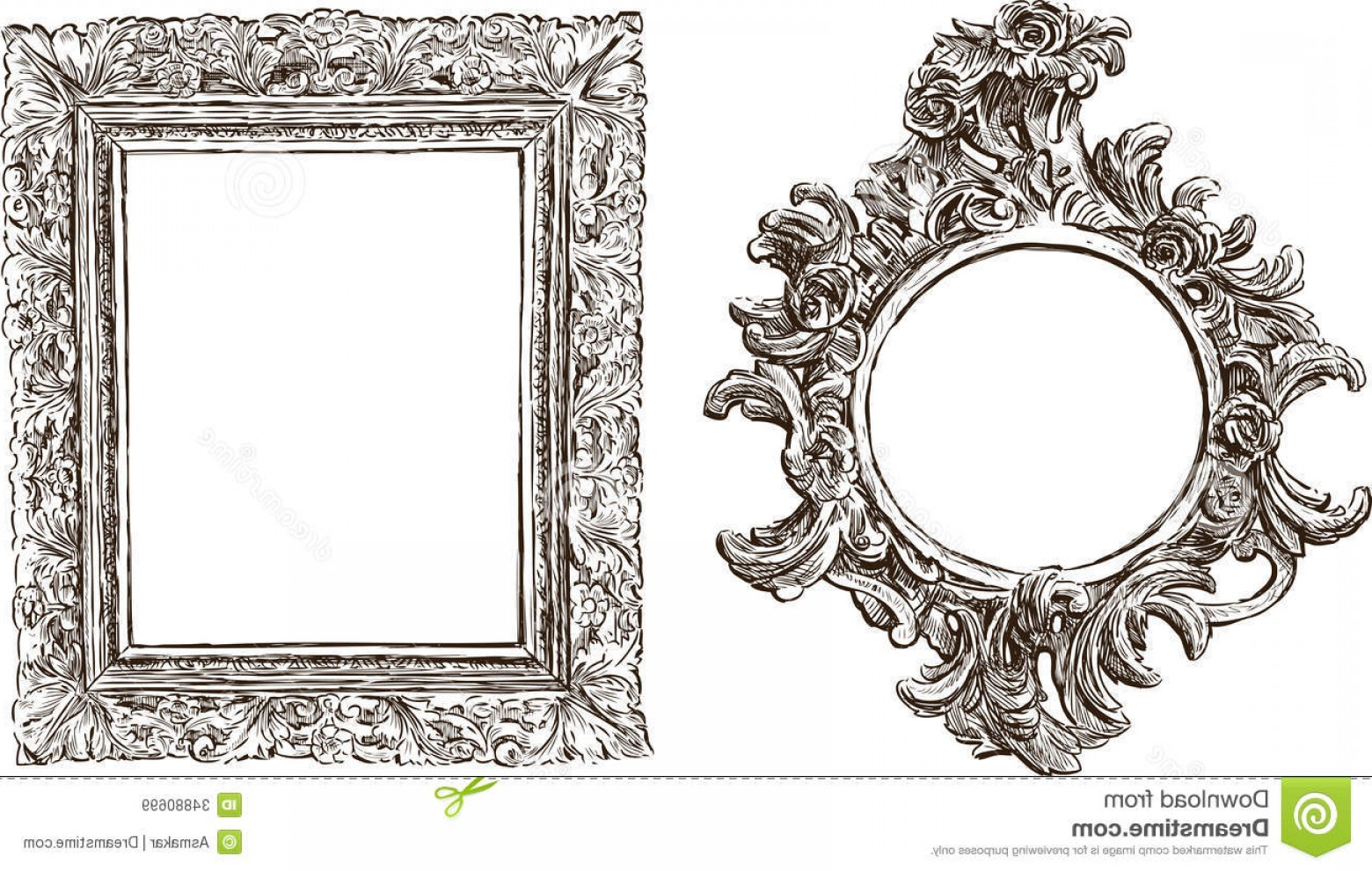 Vector Ornate Vintage Frame Blank: Royalty Free Stock Images Old Ornate Frames Vector Drawing Two Antique Image
