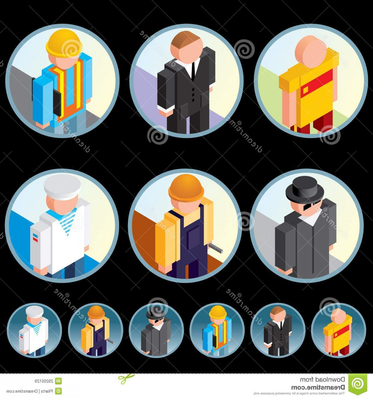 Vector People Free Clip Art: Royalty Free Stock Images People Occupation Icons Isometric Vector Graphics Image