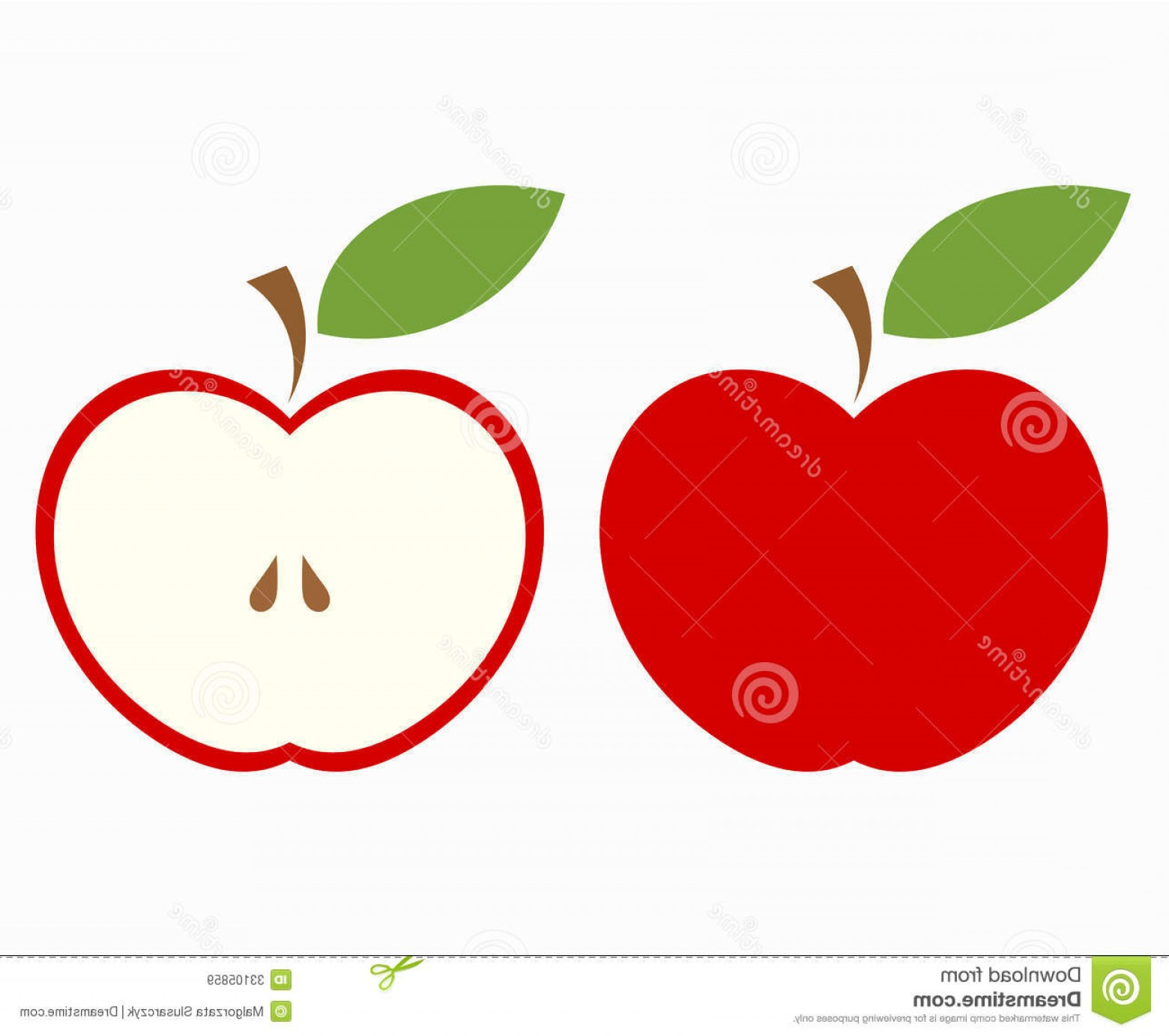 Red Apple Vector Logo: Royalty Free Stock Images Red Apple Cut Whole Half Fruit Vector Illustration Image