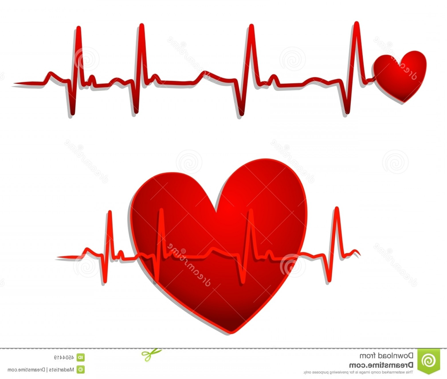 Heart With EKG Line Vector: Royalty Free Stock Images Red Heart Ekg Lines Image