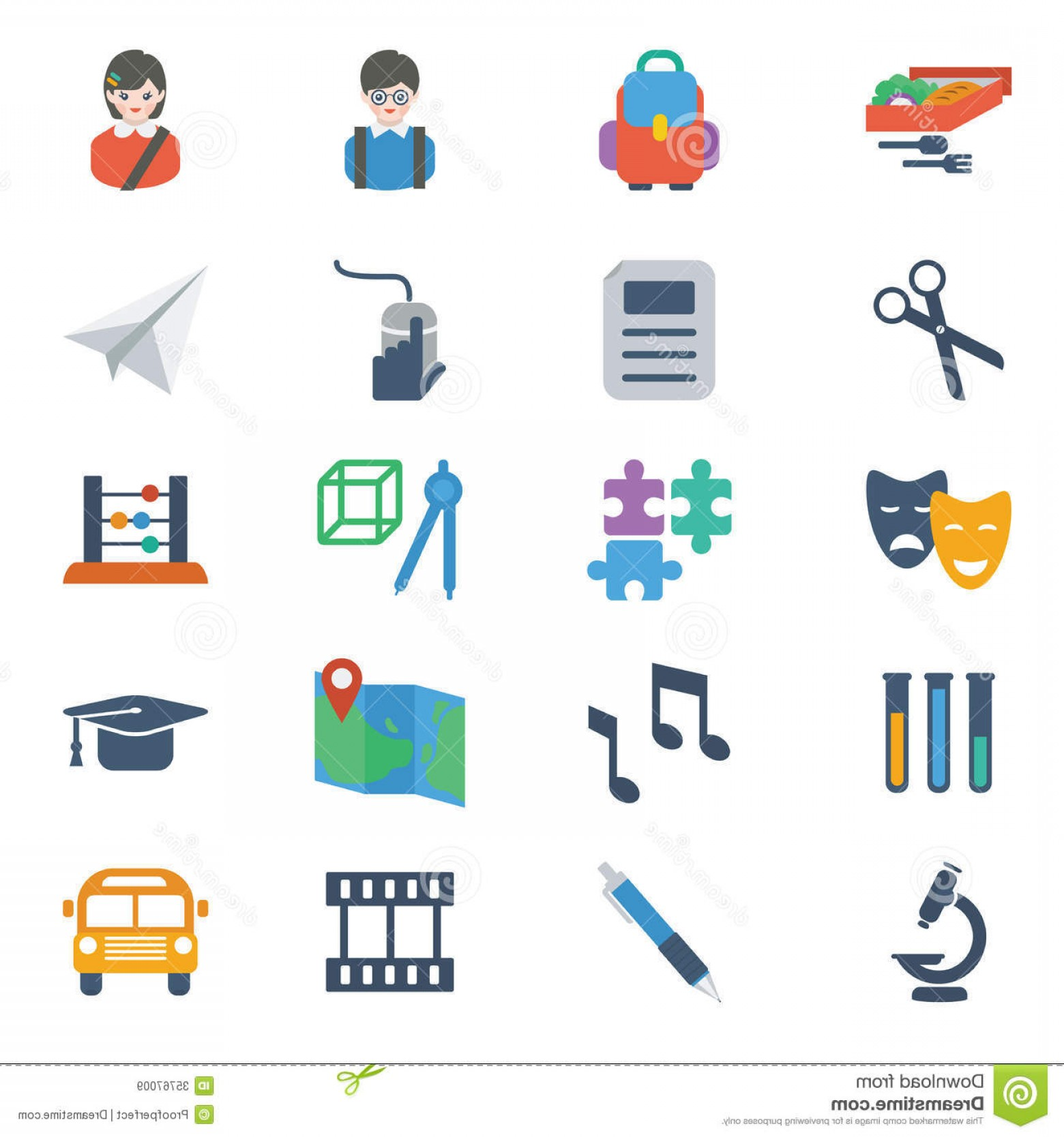 Free Vector Flat Education Icons: Royalty Free Stock Images School Education Icons Set Modern Colorful Flat Style Vector Theme Image