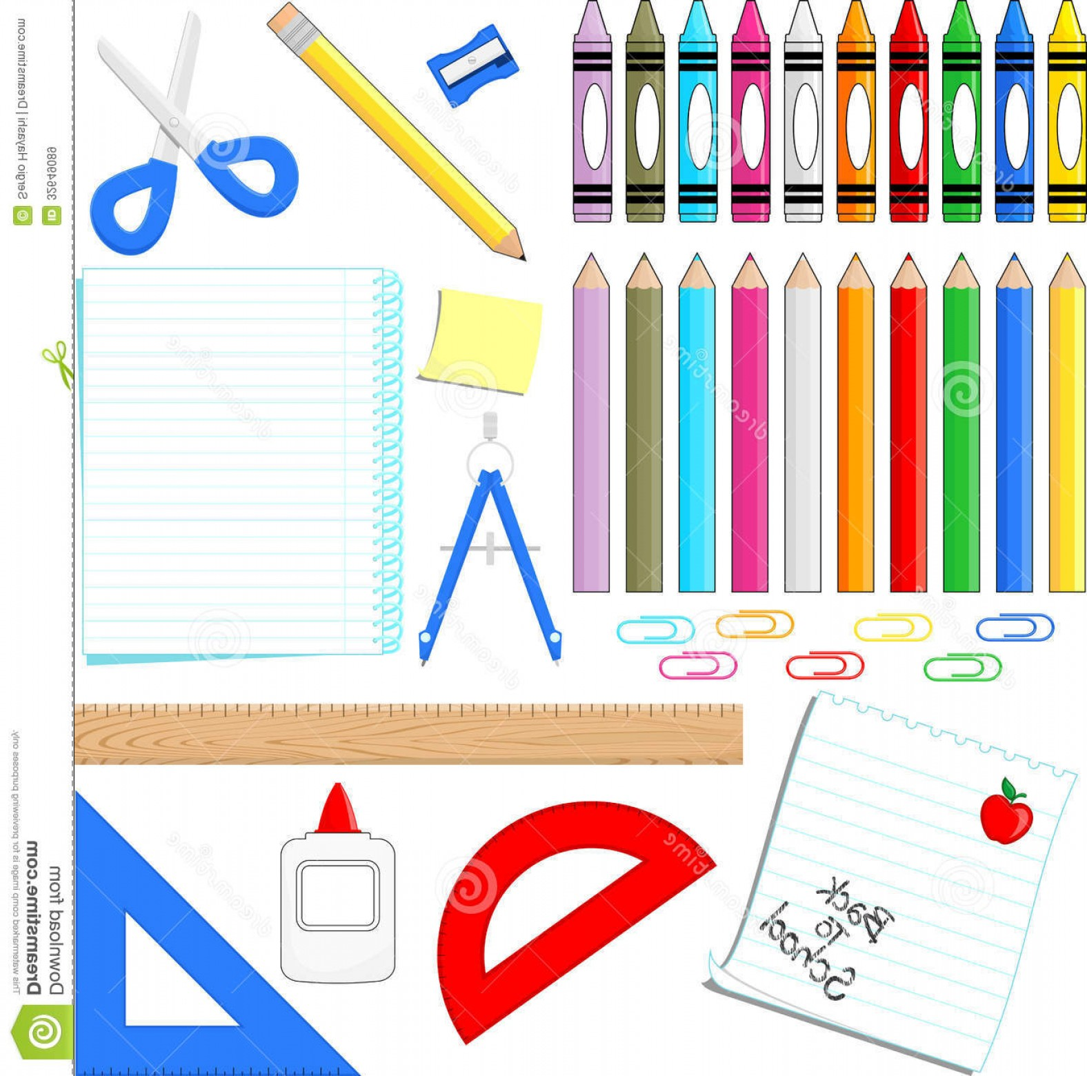 Individual School Supplies Vector: Royalty Free Stock Images School Supplies Vector Clip Art White Background Format Very Easy To Edit Individual Objects Image