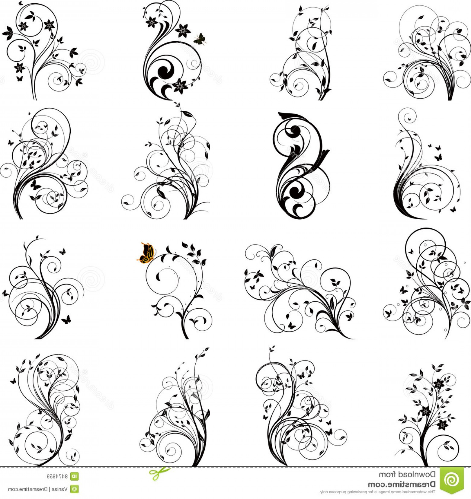 Flower Elements Vector: Royalty Free Stock Images Set Floral Elements Vector Image