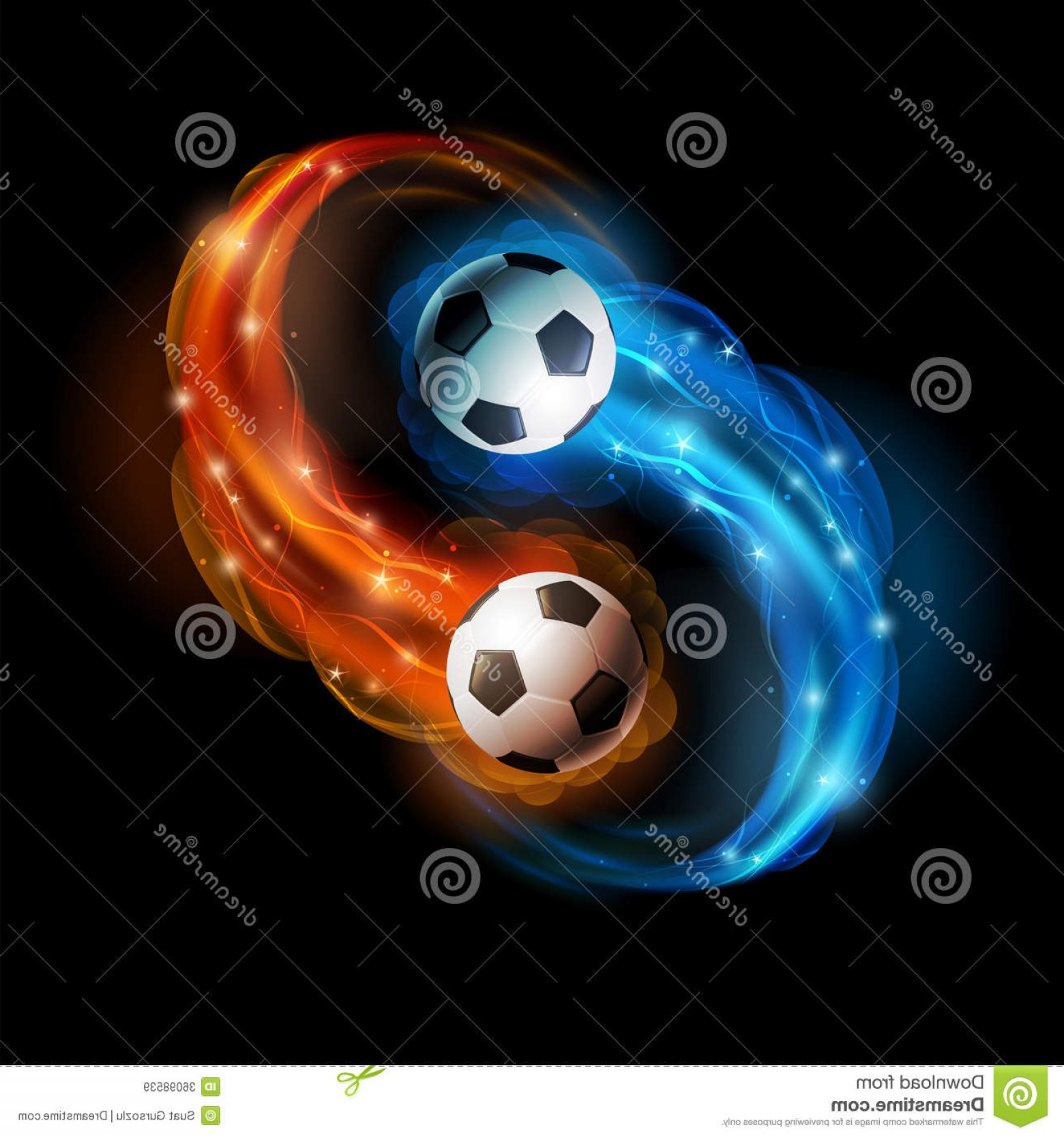 Soccer Blue Background Vector Graphics: Royalty Free Stock Images Soccer Ball Balls Flames Lights Against Black Background Vector Illustration Image