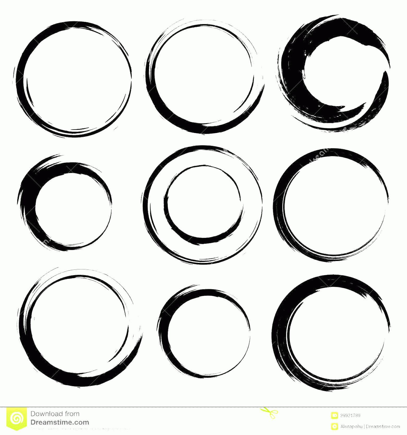 Distressed Border Circle Vector: Royalty Free Stock Images Vector Set Grunge Circle Brush Strokes Frames Icons Design Elements Image