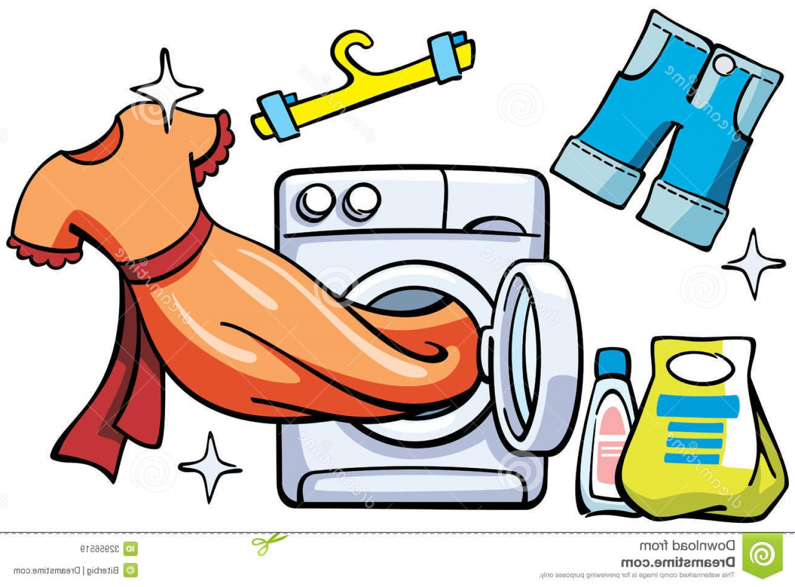 Clothes For Washing Vector: Royalty Free Stock Images Washer Clean Clothes Vector Illustration Image