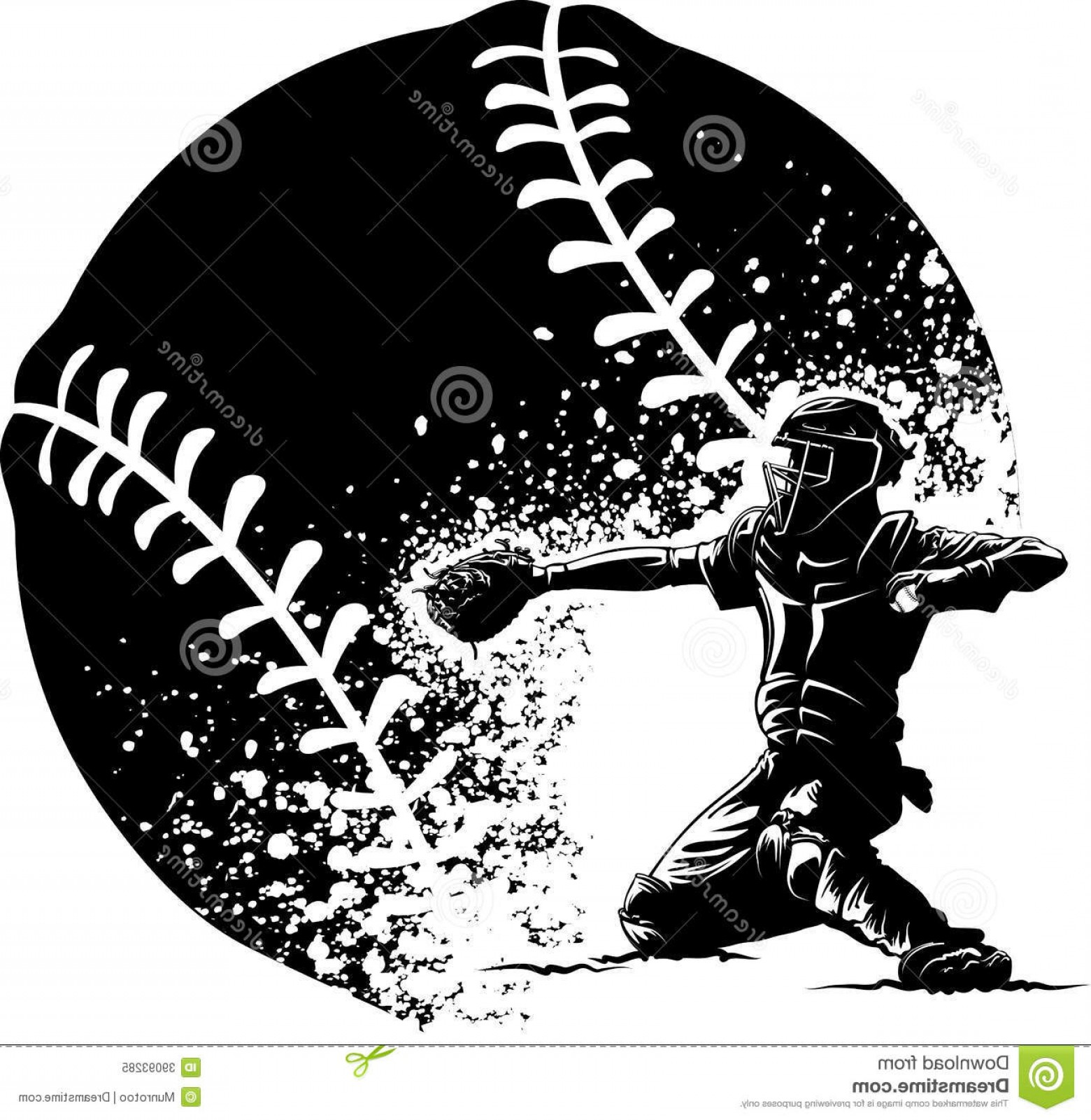 Softball Catcher Vector: Royalty Free Stock Photo Baseball Catcher Home Plate Grunge Ball Black White Illustration Getting Ready To Throw Out Runner Front Image