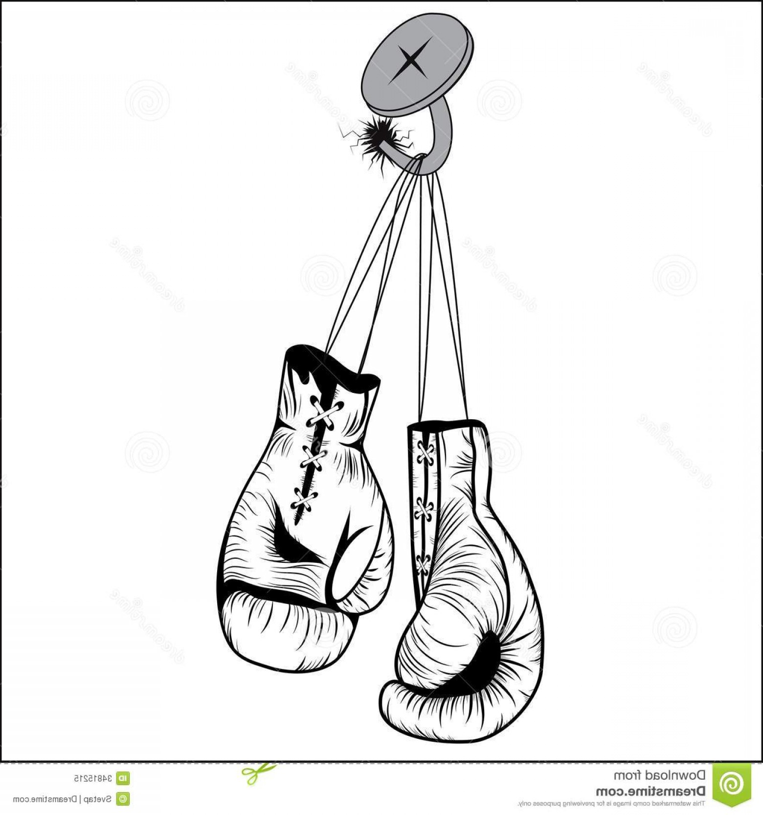 Boxing Gloves Vector Clip Art: Royalty Free Stock Photo Boxing Gloves Hang Laces Nailed To Wall As Business Sport Concept Person Retires Give Up Fight Prepares Image