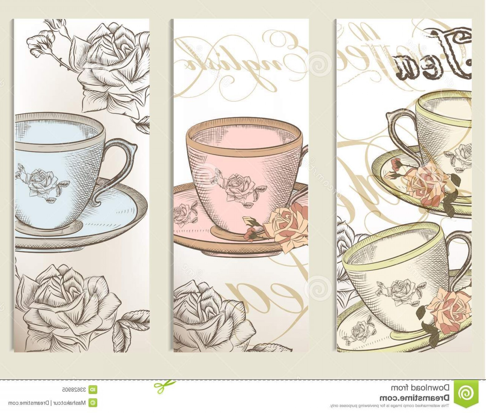 Vintage Tea Cup Vector: Royalty Free Stock Photo Brochure Vector Set Vintage Cups Tea Brochures Cards Image