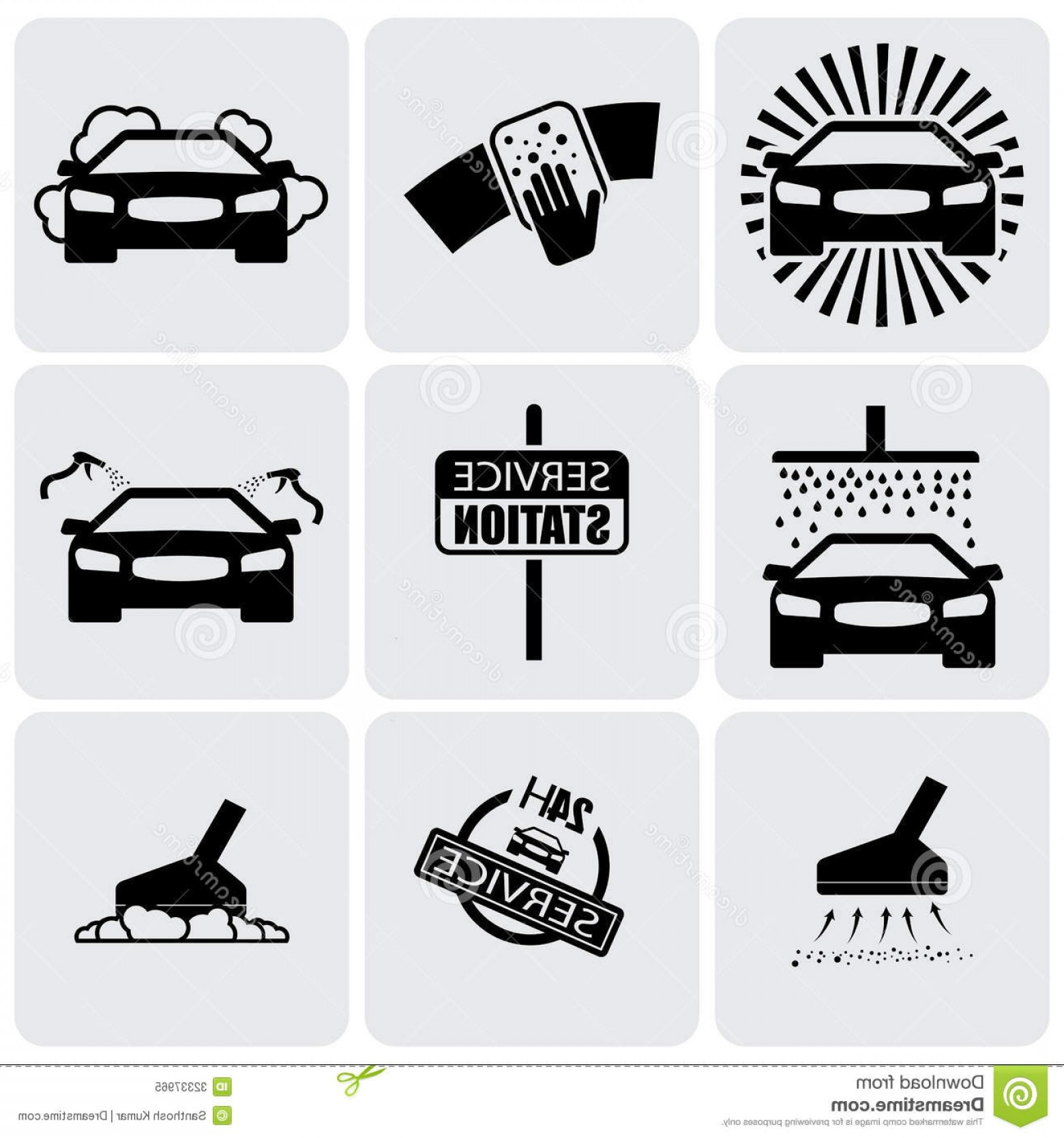 Car Wash Vector Graphics: Royalty Free Stock Photo Car Wash Icons Signs Set Cleaning Car Vector Graphic Illustration Represents Nine Symbols Washing Image