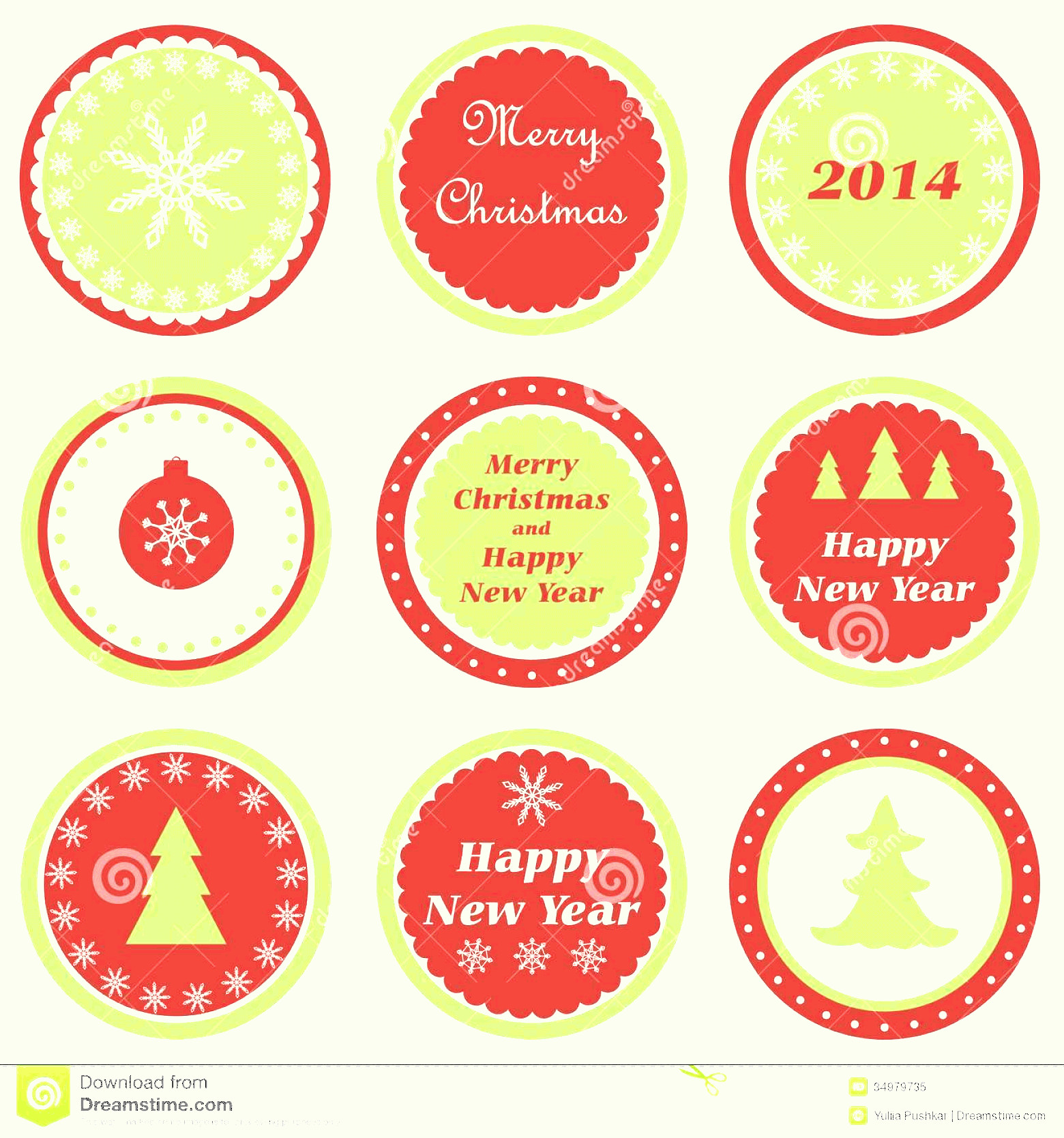Vector Christmas Toppers: Royalty Free Stock Photo Christmas Cupcake Toppers Set Tags New Year Image