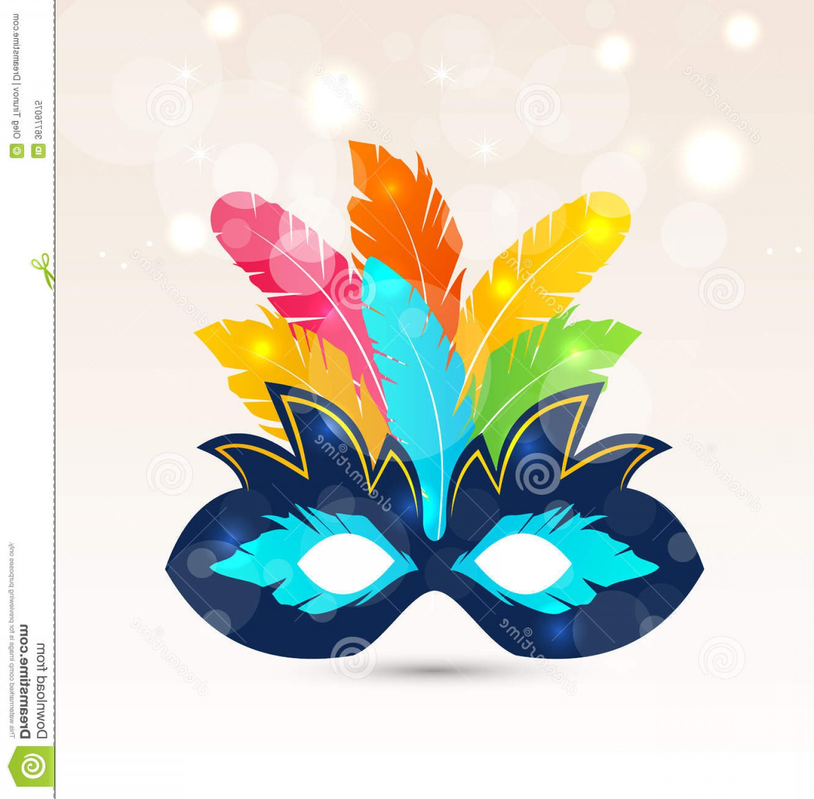 Carnival Vector Feather Art: Royalty Free Stock Photo Colorful Carnival Theater Mask Feathers Illustration Image