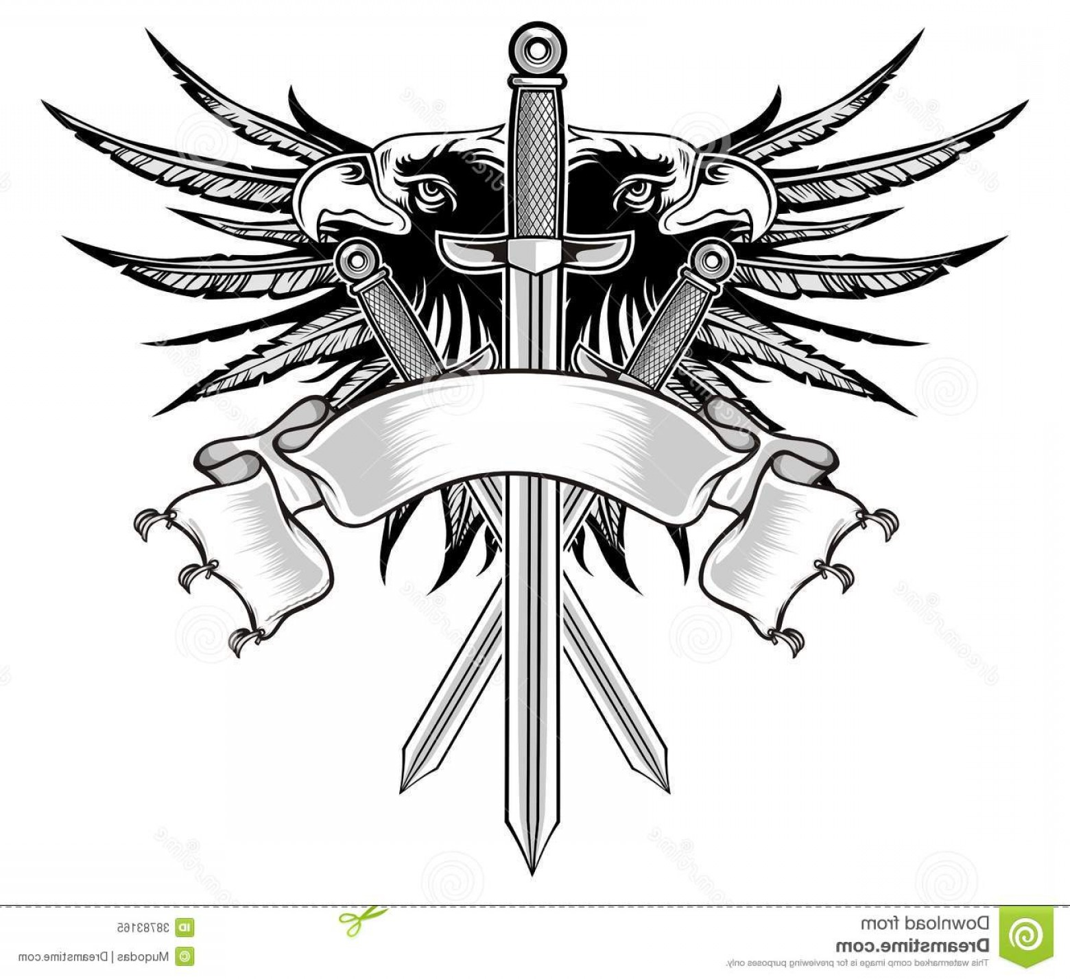 Vector Eagle Shield Sword: Royalty Free Stock Photo Eagle Sword Warrior Swords Two Wings Background Image