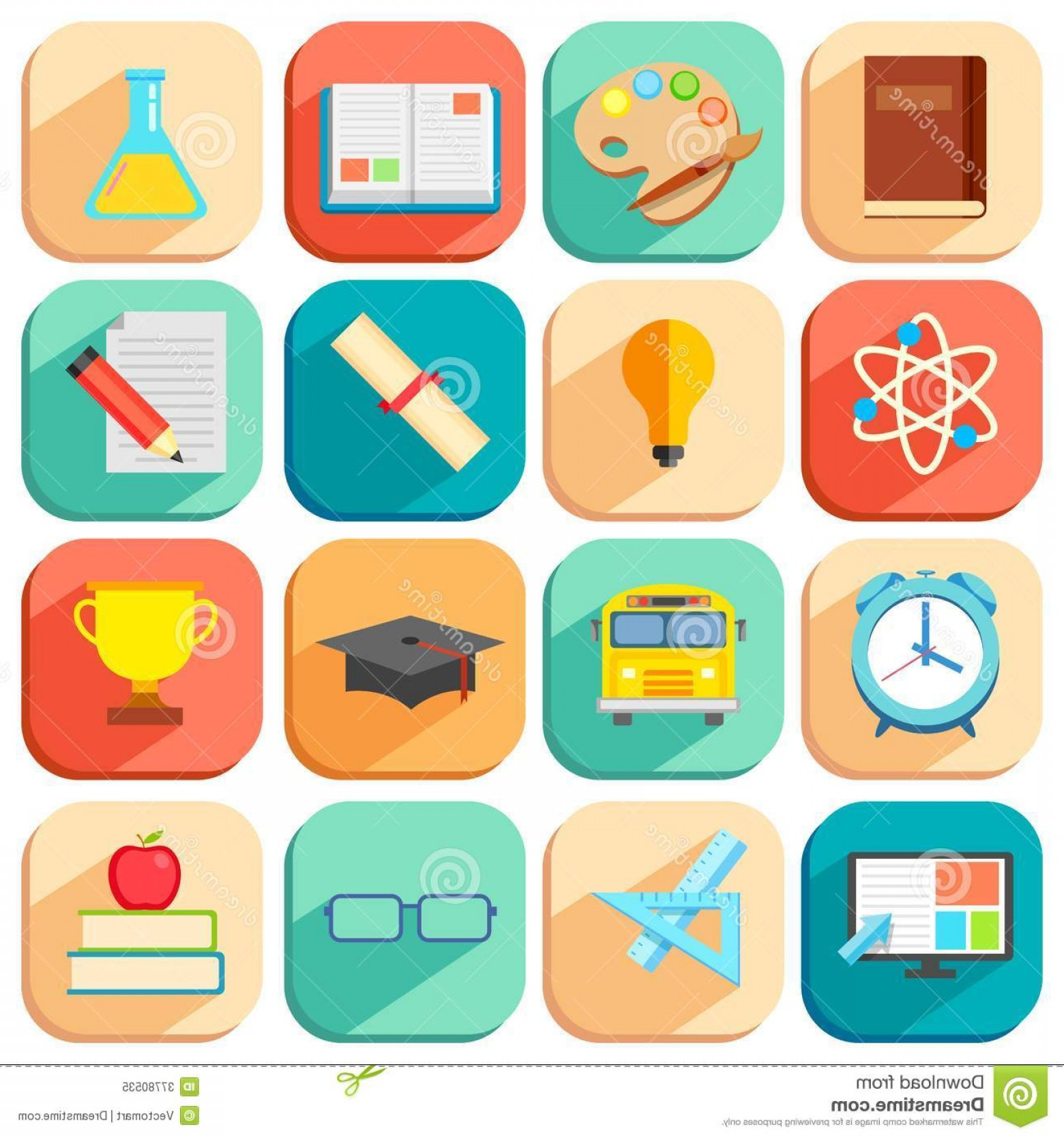Free Vector Flat Education Icons: Royalty Free Stock Photo Flat Education Icon Illustration Set Image