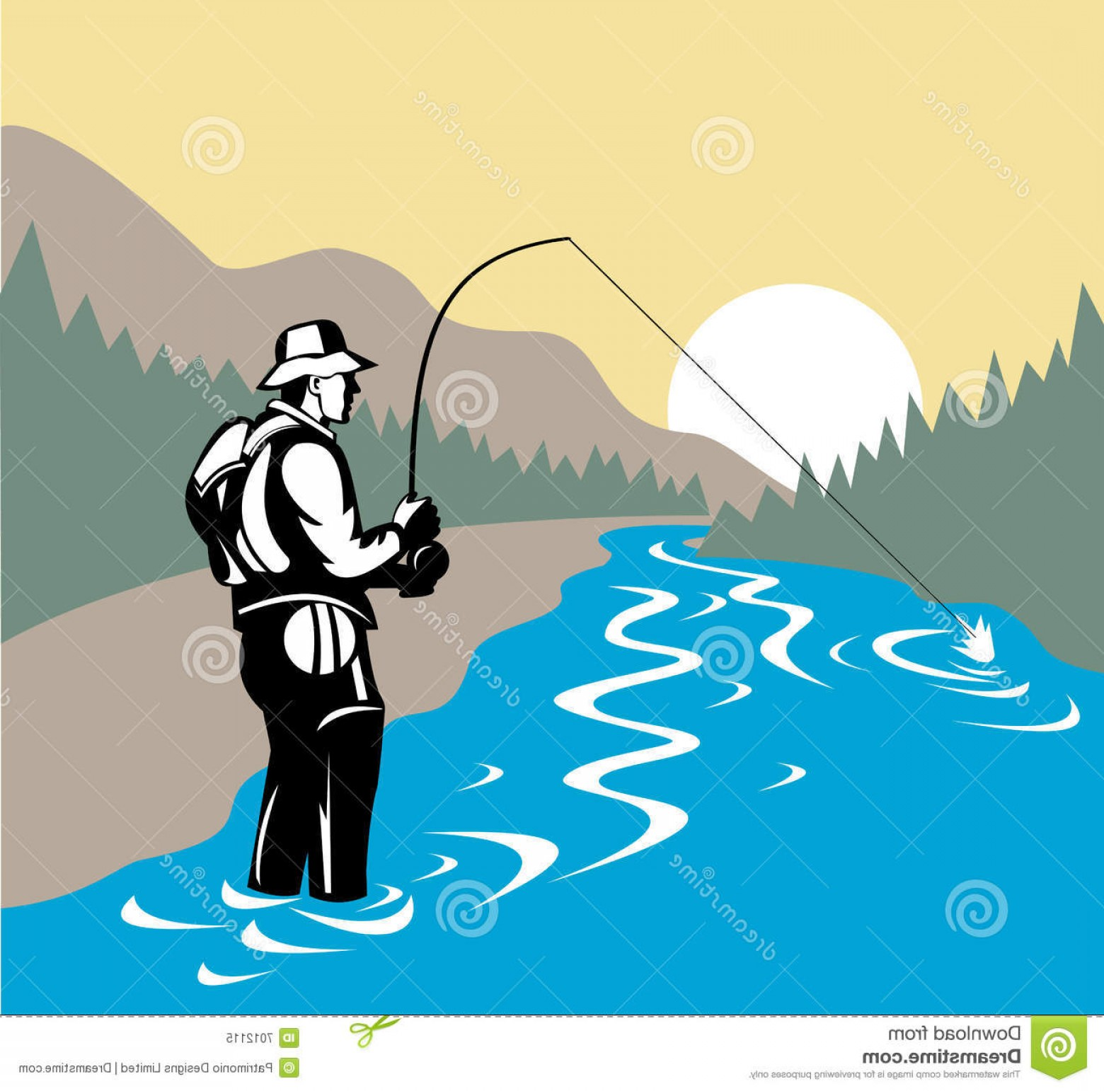 Detailed Vector Art Fly Fisherman: Royalty Free Stock Photo Fly Fishing Image