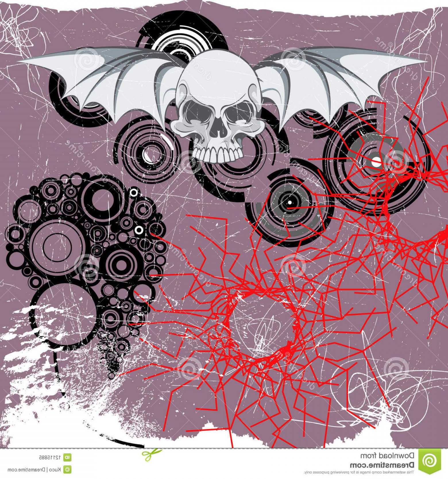 Flying Skull Vector: Royalty Free Stock Photo Flying Skull Image
