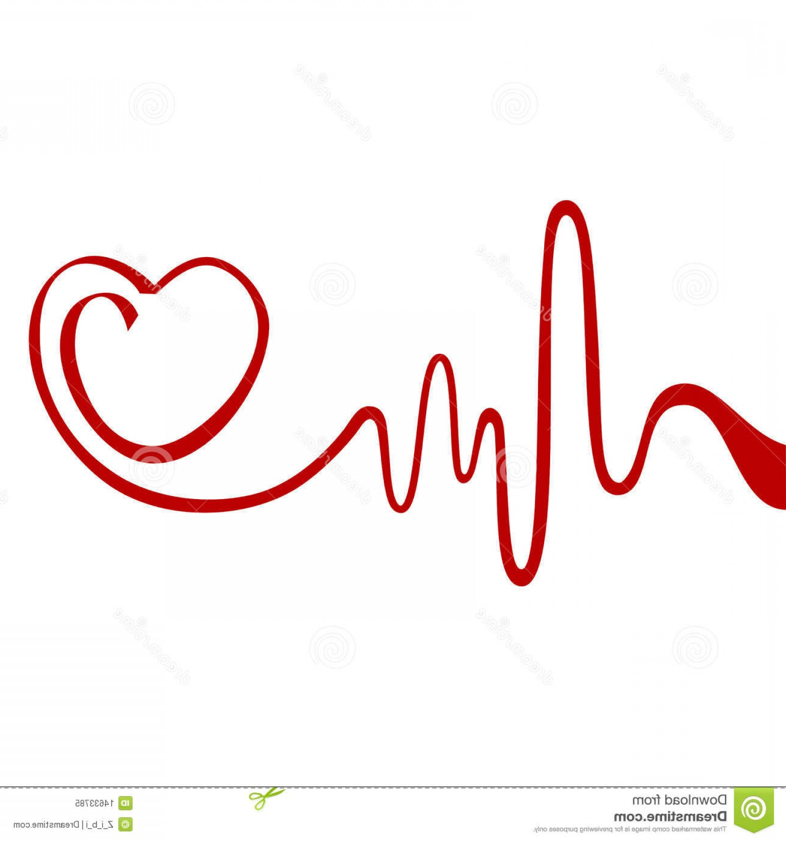 Heart With EKG Line Vector: Royalty Free Stock Photo Heart Image