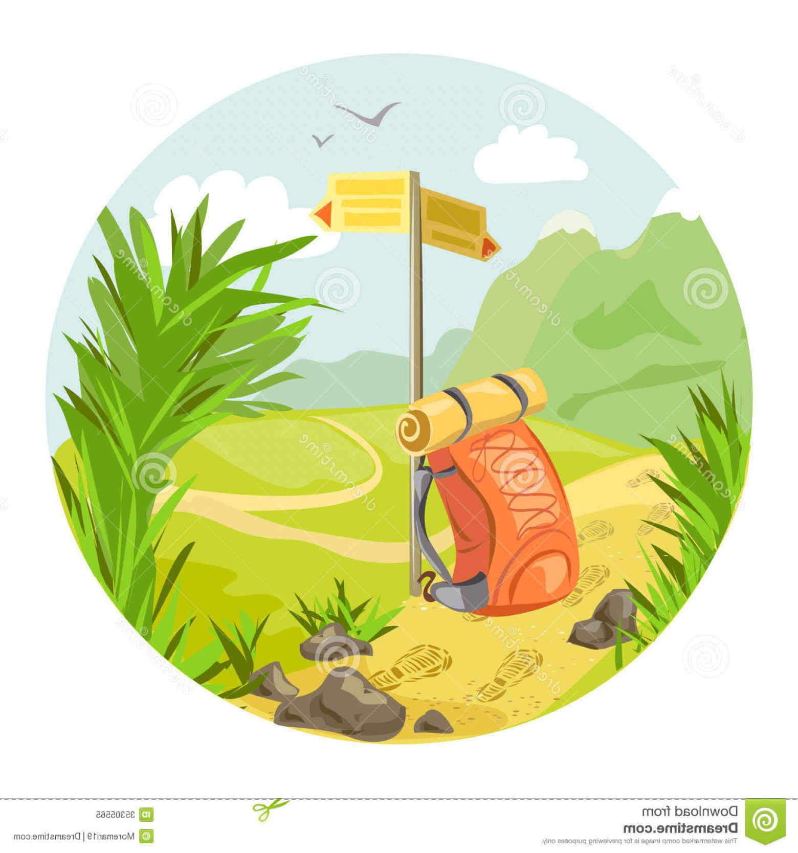 Mountain Trail Vector: Royalty Free Stock Photo Hiking Mountain Landscape Vector Illustration Image