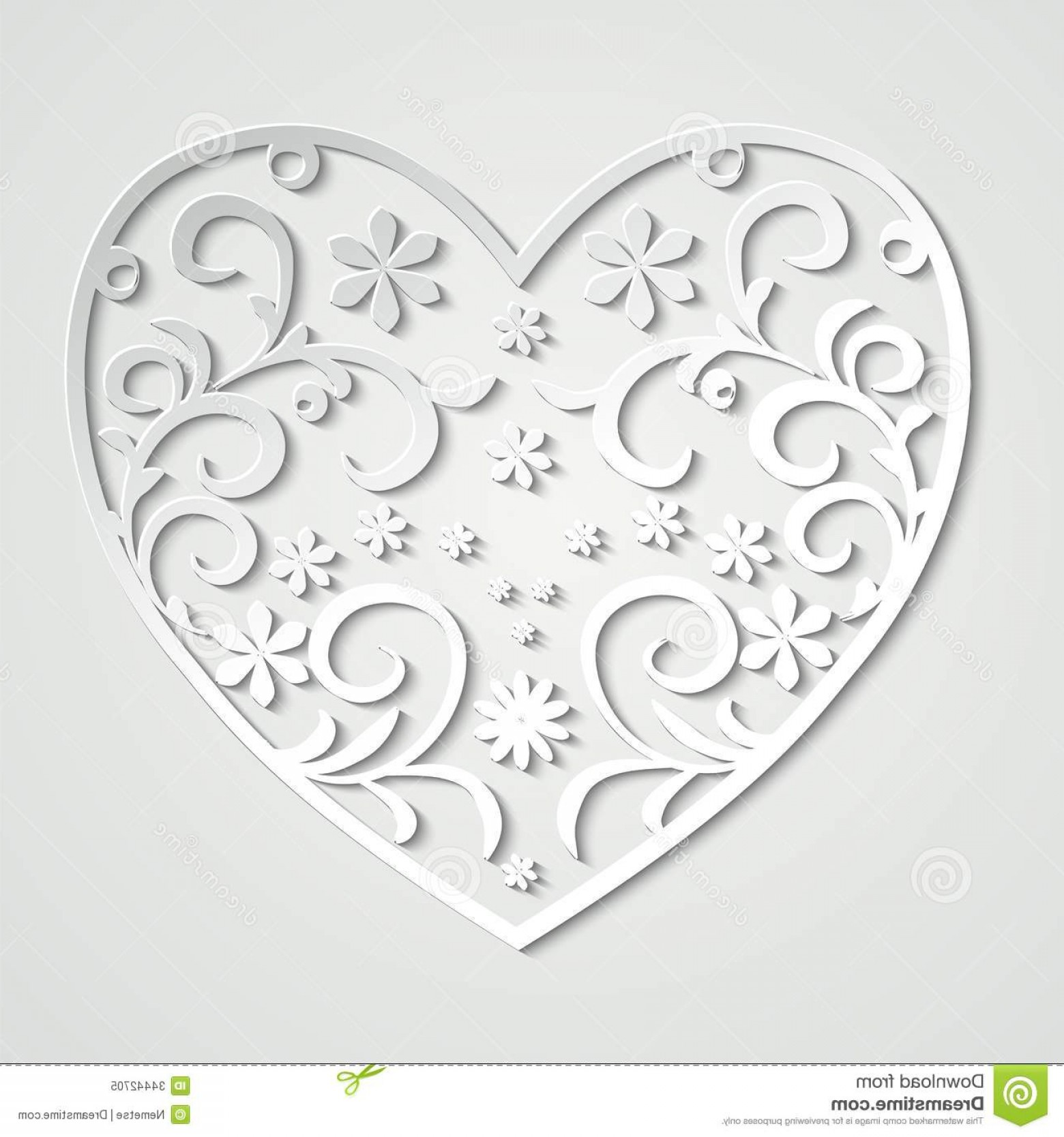 Vector Filigree Heart: Royalty Free Stock Photo Paper Heart Beautiful Filigree White Background Image