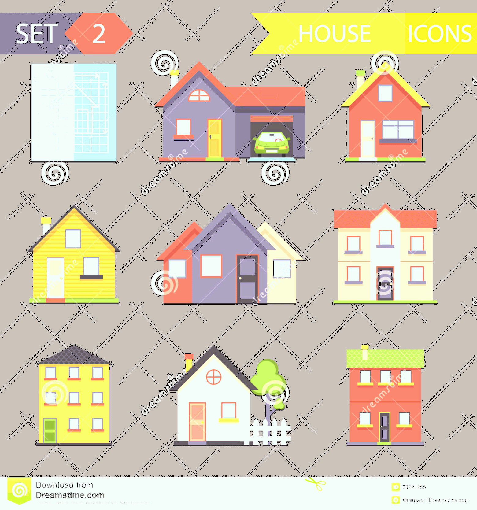Flat Vector House: Royalty Free Stock Photo Retro Flat House Icons Symbols Set Vector Image