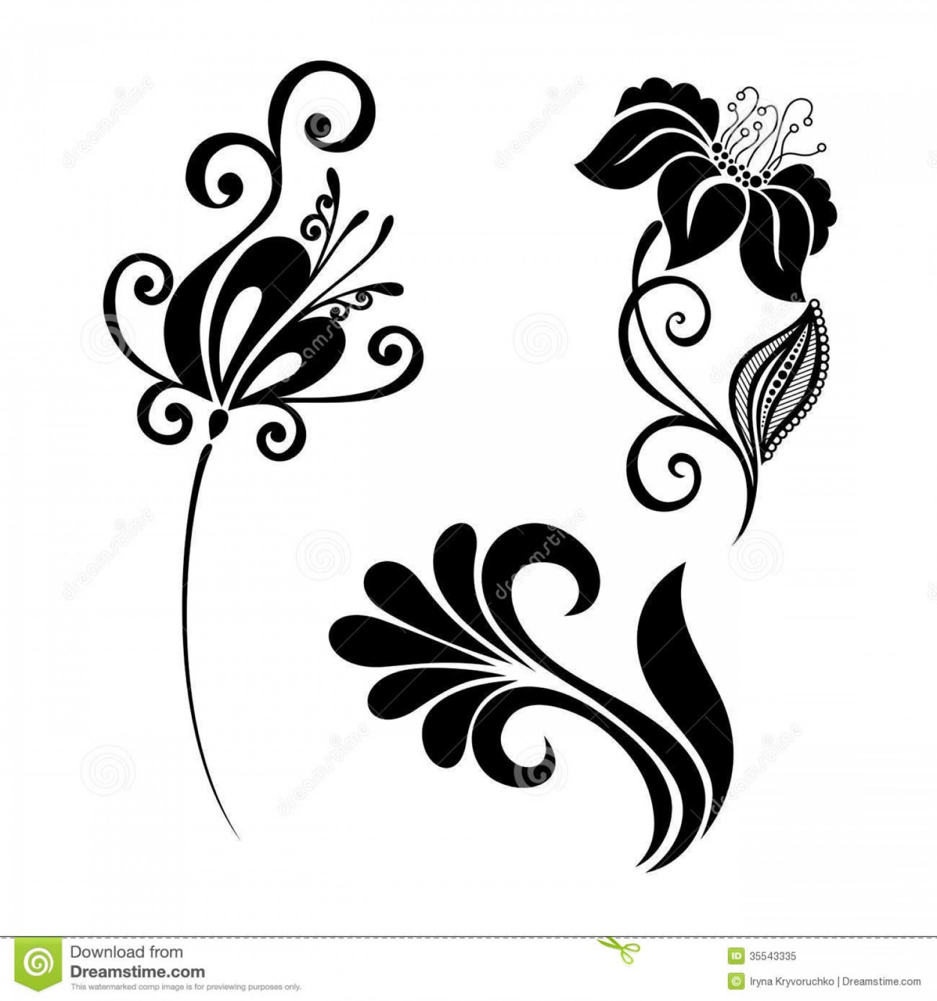 Beautiful Flowers Vector Graphic: Royalty Free Stock Photo Set Beautiful Deco Flowers Vector Patterned Design Image