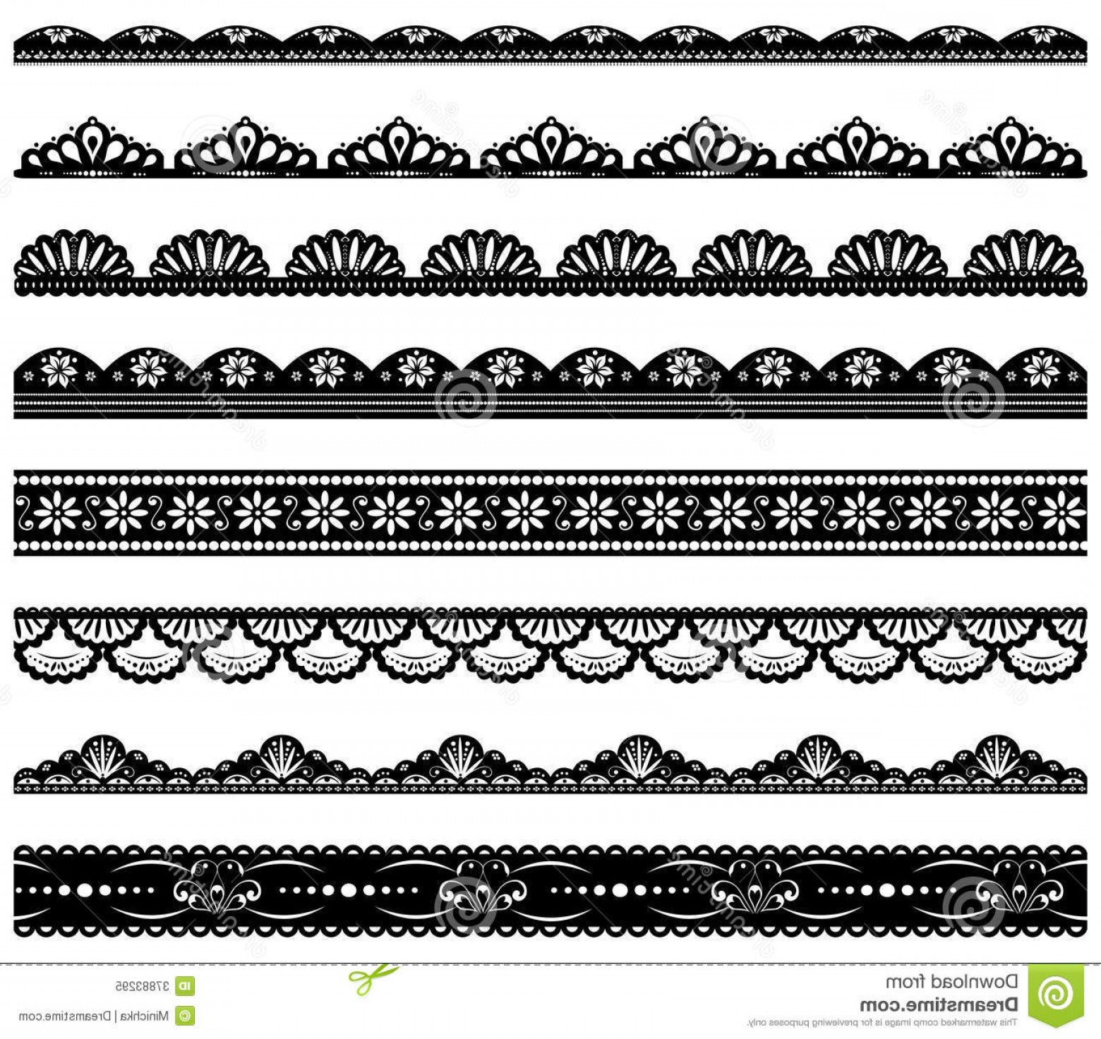 Black Scalloped Border Vector: Royalty Free Stock Photo Set Scalloped Vector Borders Lace Image