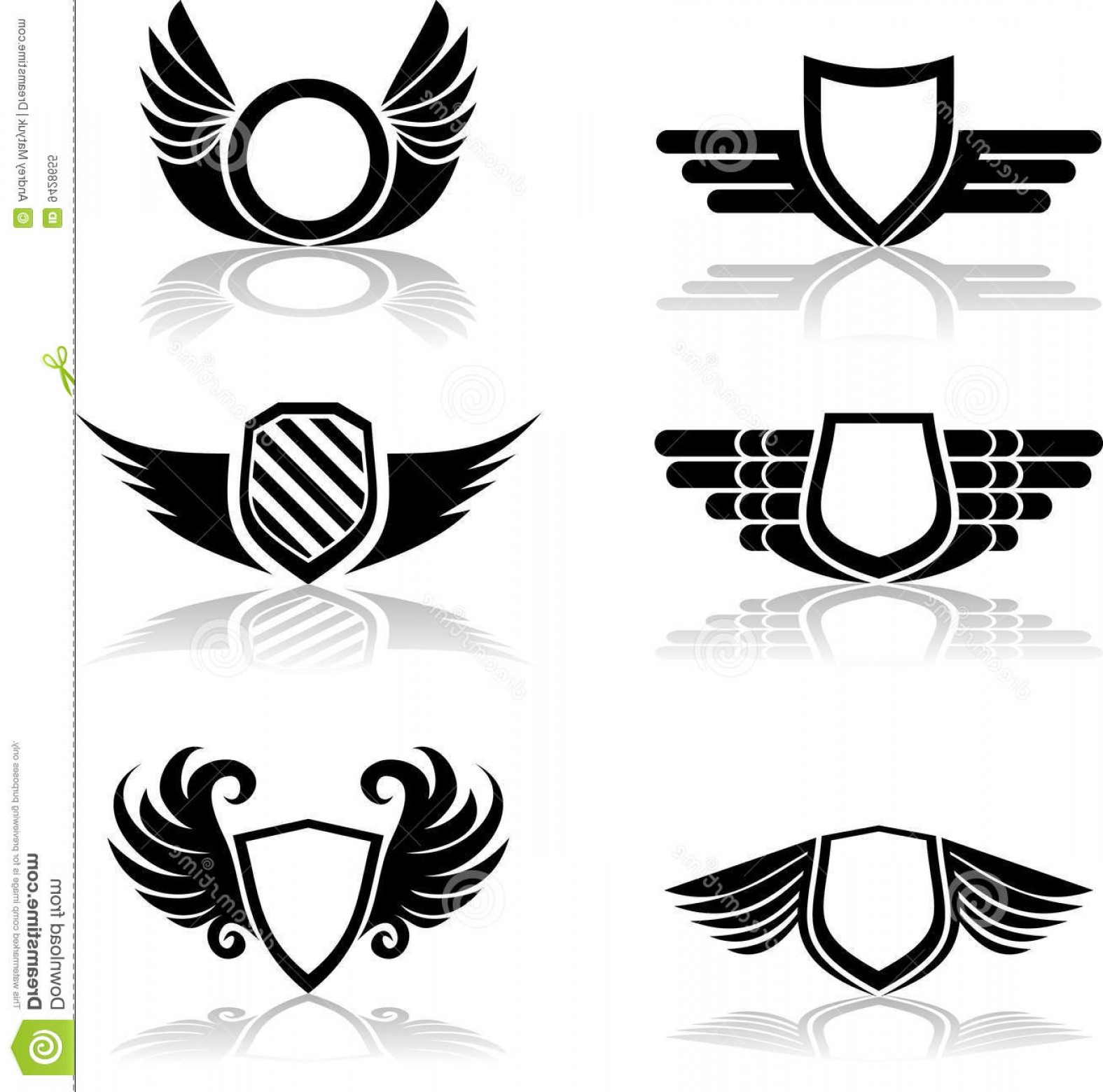 Shield With Wings Vector HD: Royalty Free Stock Photo Shield Icon Set Image