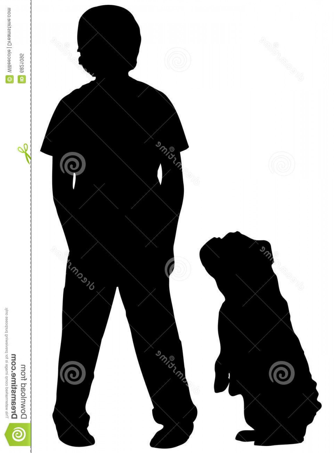 Little Boy Silhouette Vector: Royalty Free Stock Photo Silhouette Boy Dog Image