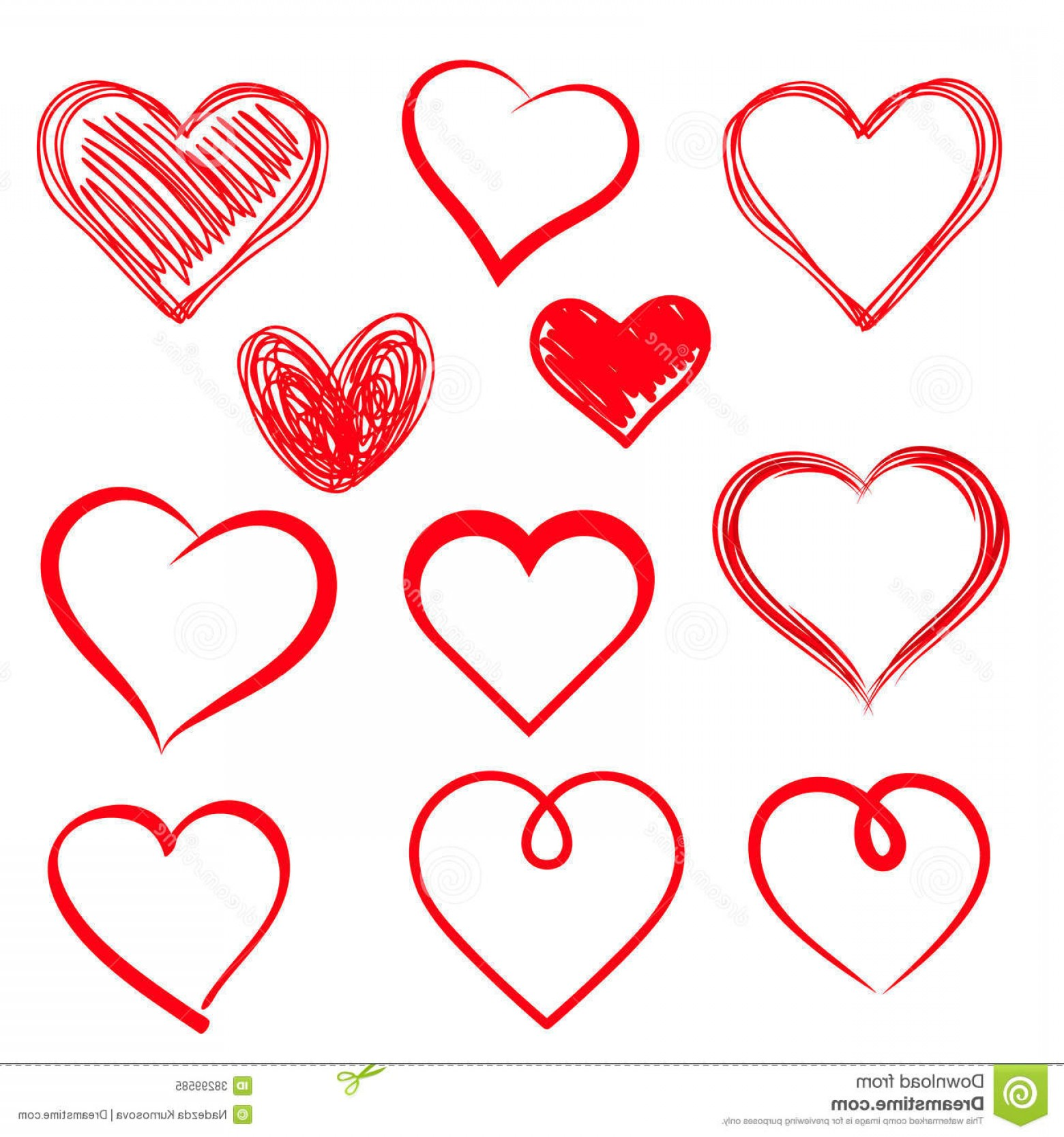 Free Heart Vector Design: Royalty Free Stock Photo Vector Hearts Set Hand Drawn File Eps Format Image