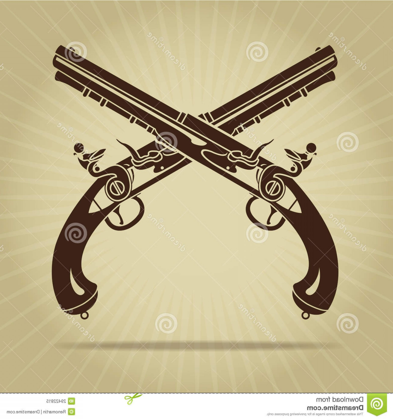 Vintage Crossed Pistols Vector: Royalty Free Stock Photo Vintage Crossed Flintlock Pistols Silhouette Image