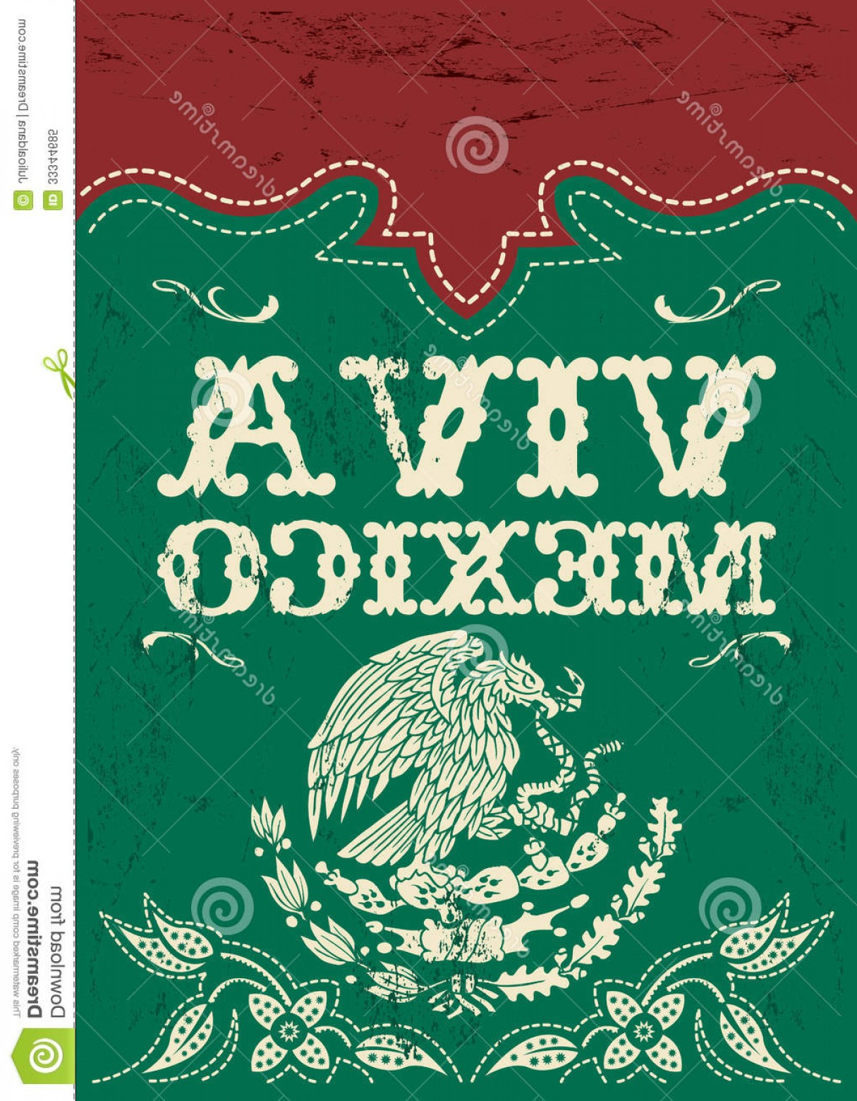 Fiesta Mexico Vector: Royalty Free Stock Photo Vintage Viva Mexico Mexican Holiday Vector Poster Grunge Effects Can Be Easily Removed Image