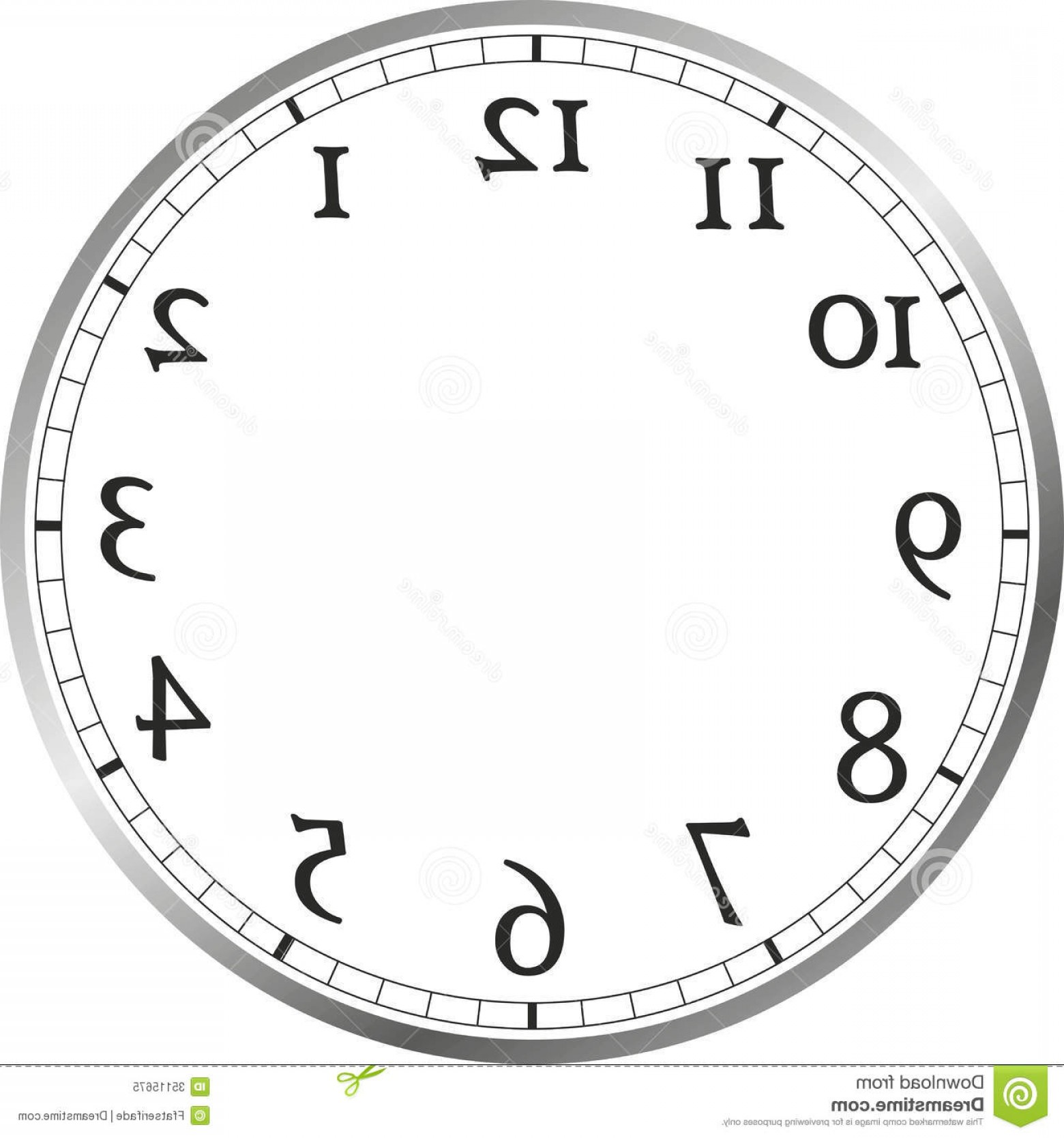Watch Face Vector: Royalty Free Stock Photo Watch Face Large Numerals Hands Image