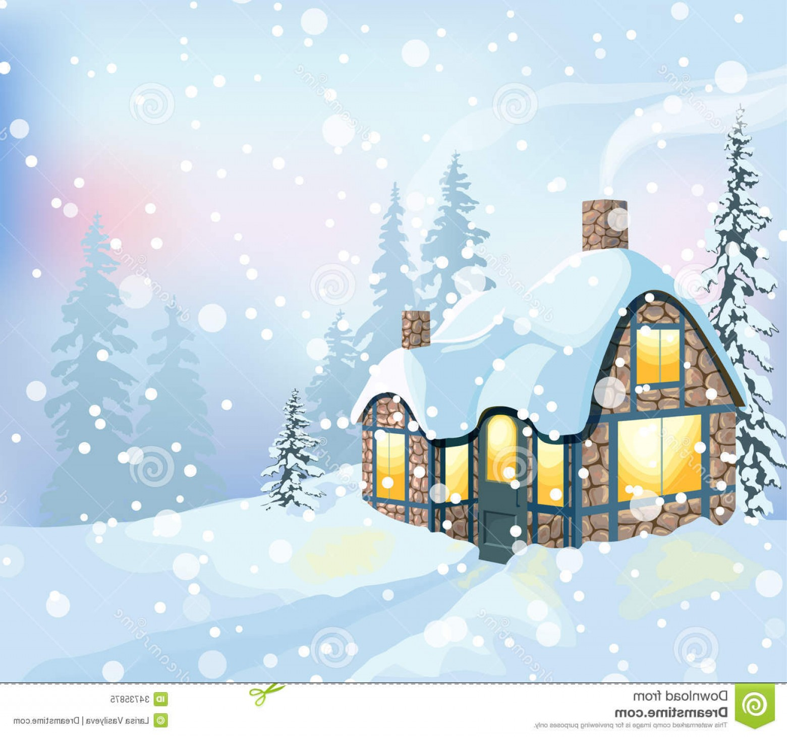 Free Winter Vector: Royalty Free Stock Photo Winter Landscape Holidays Christmas Vector Illustration House Snowy Forest Image