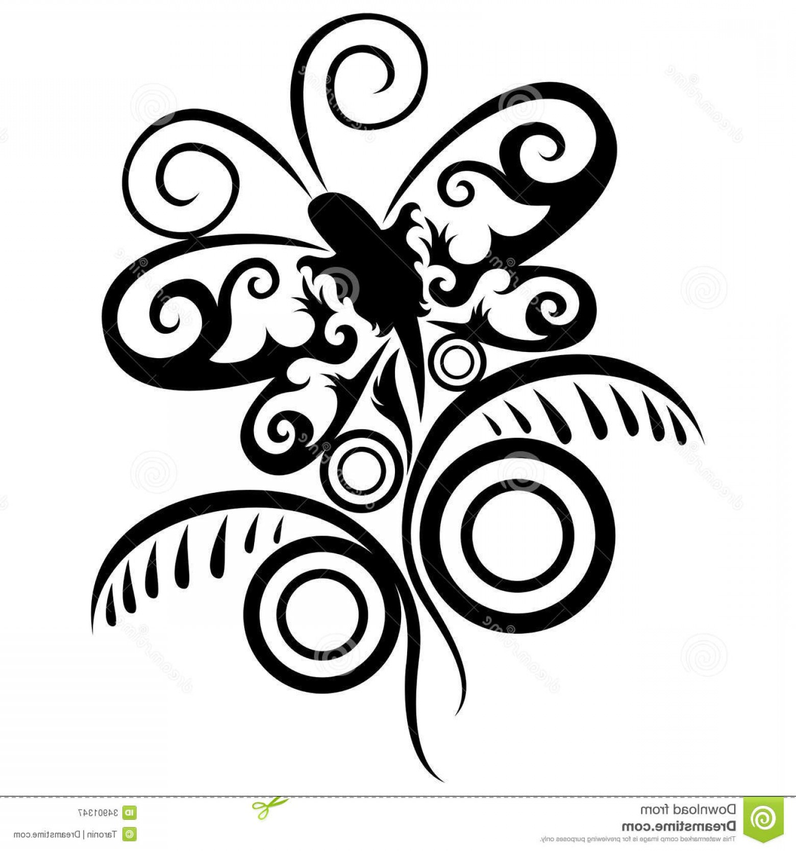 Butter Fly And Flower Vector Black And White: Royalty Free Stock Photography Abstract Pattern Butterfly Flower Vector Isolated White Image