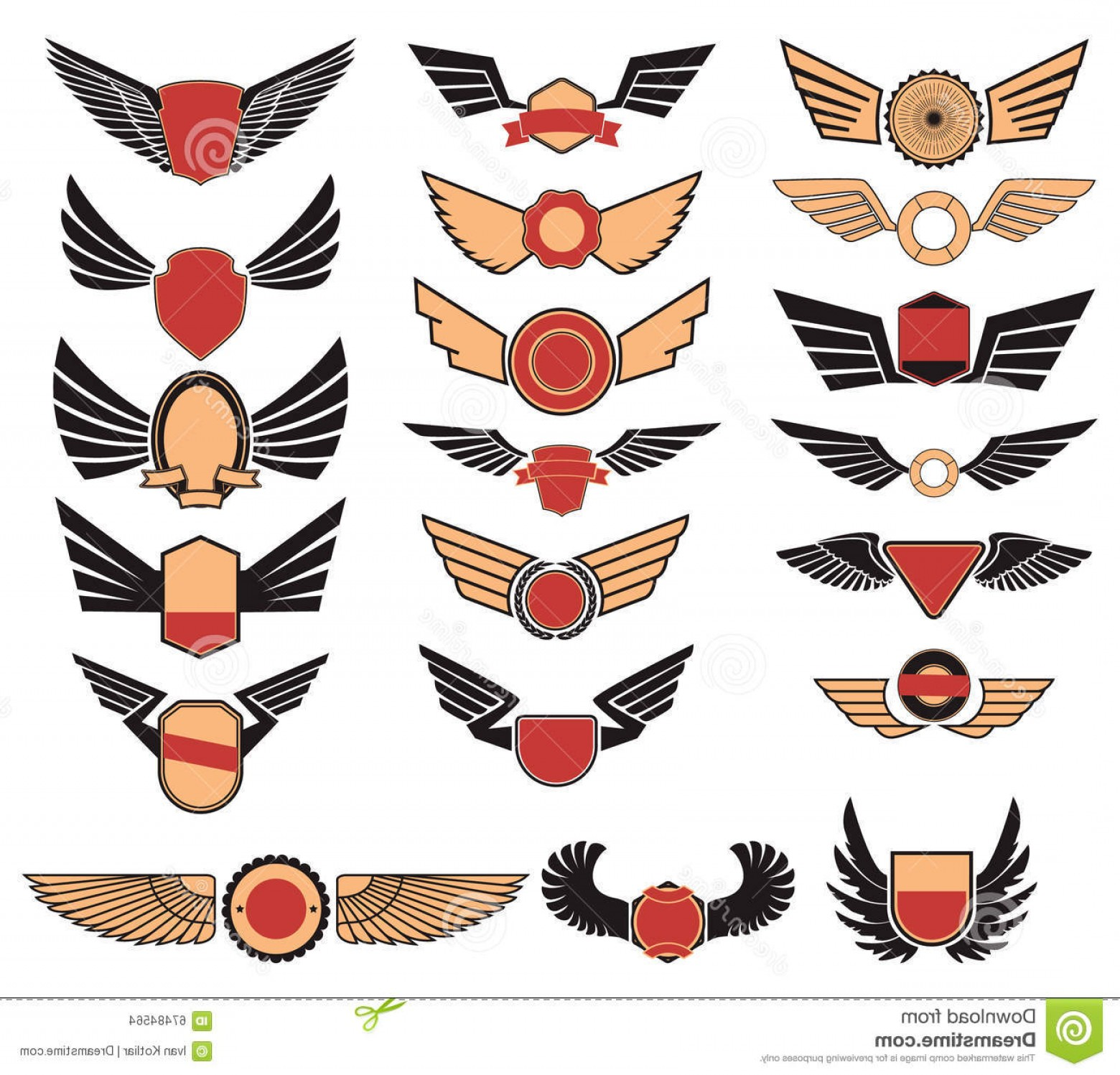 Army Aviator Wings Vector: Royalty Free Stock Photography Aviation Insignia Wings Set Image