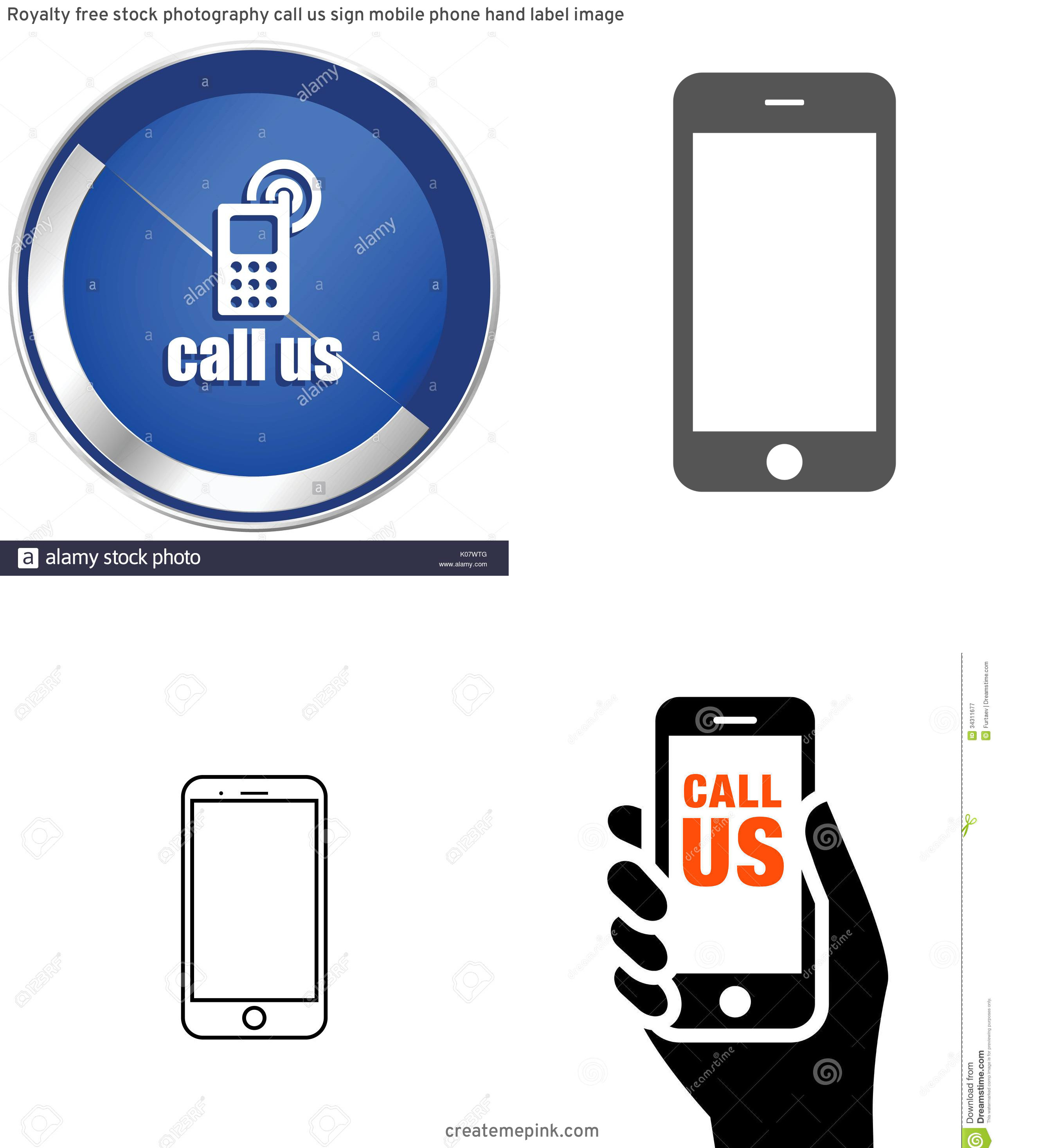 U.S. Cellular Phone Vector: Royalty Free Stock Photography Call Us Sign Mobile Phone Hand Label Image