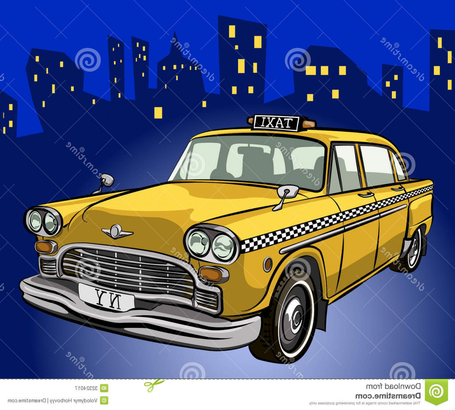 Taxi Checkers Vector: Royalty Free Stock Photography Checker Taxi Night City Image