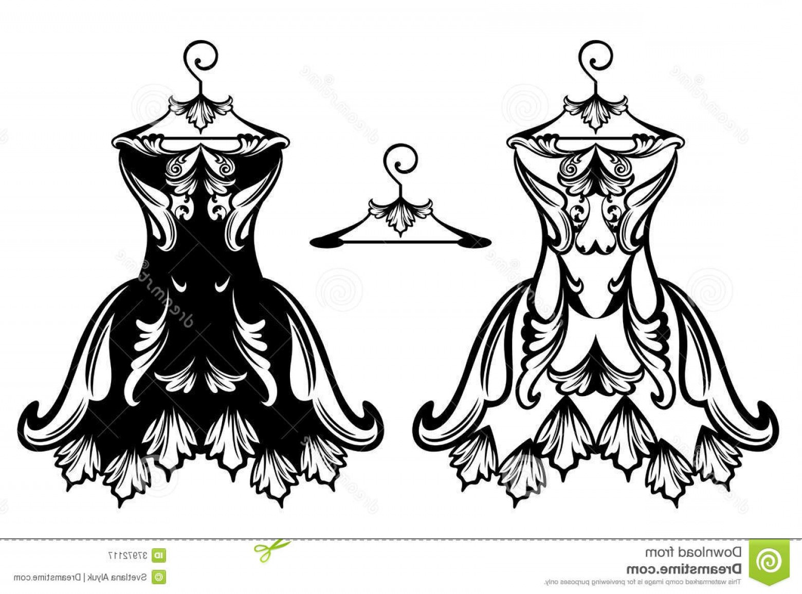 Vector Images Of Black And White Dresses: Royalty Free Stock Photography Dress Vector Design Beautiful Ornate Black White Collection Image