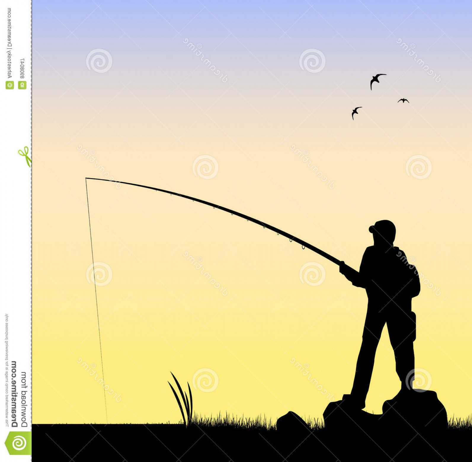 River Silhouette Vector Art: Royalty Free Stock Photography Fisherman Fishing River Vector Image