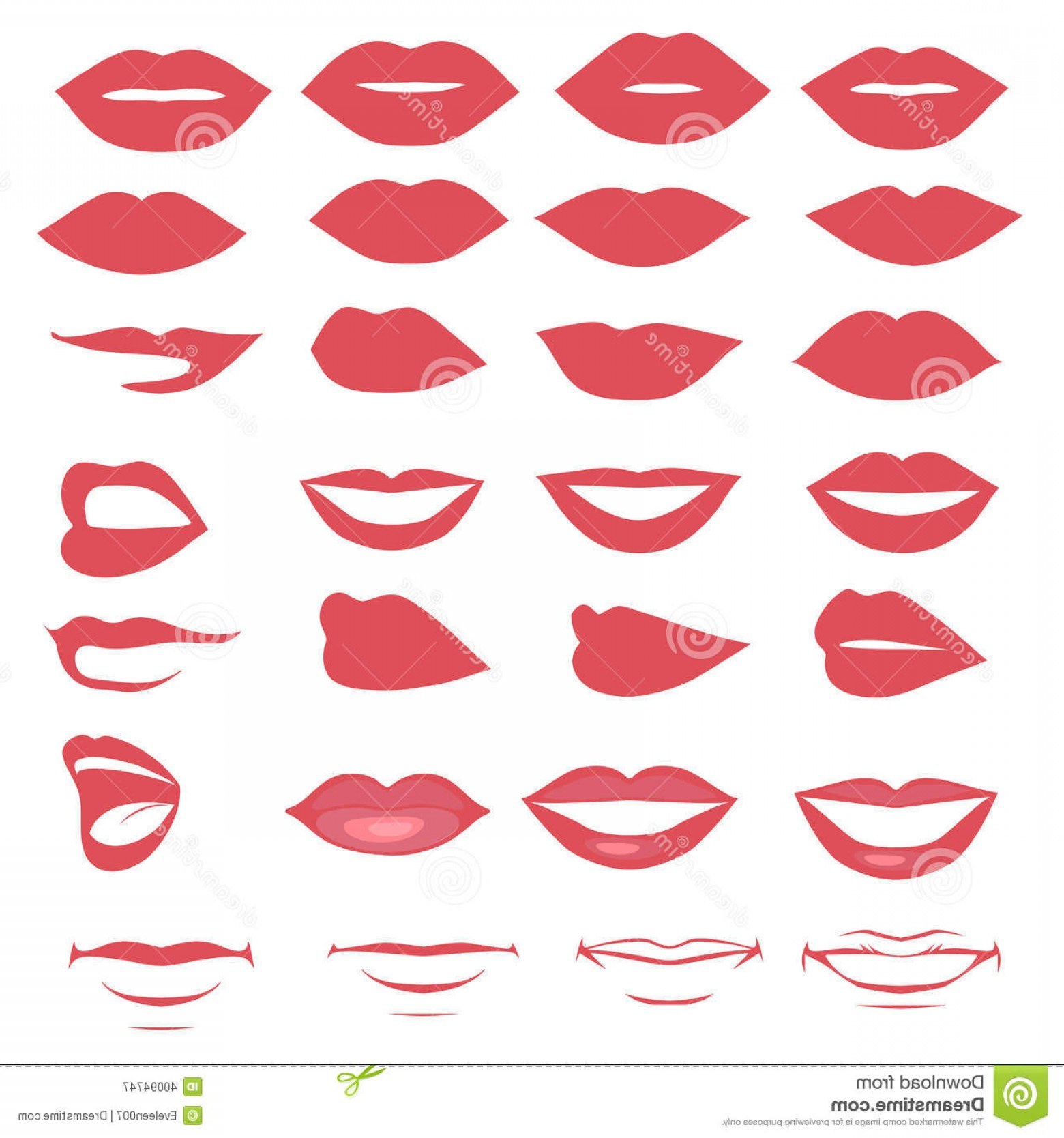 Vector Female Lips: Royalty Free Stock Photography Lips Mouth Vector Silhouette Glossy Open Close Up Man Woman Face Parts Image